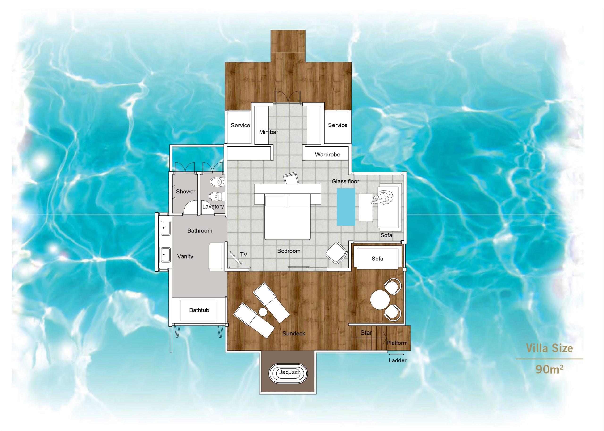 Мальдивы, отель Sun Siyam Iru Fushi, план-схема номера Horizon Water Villa