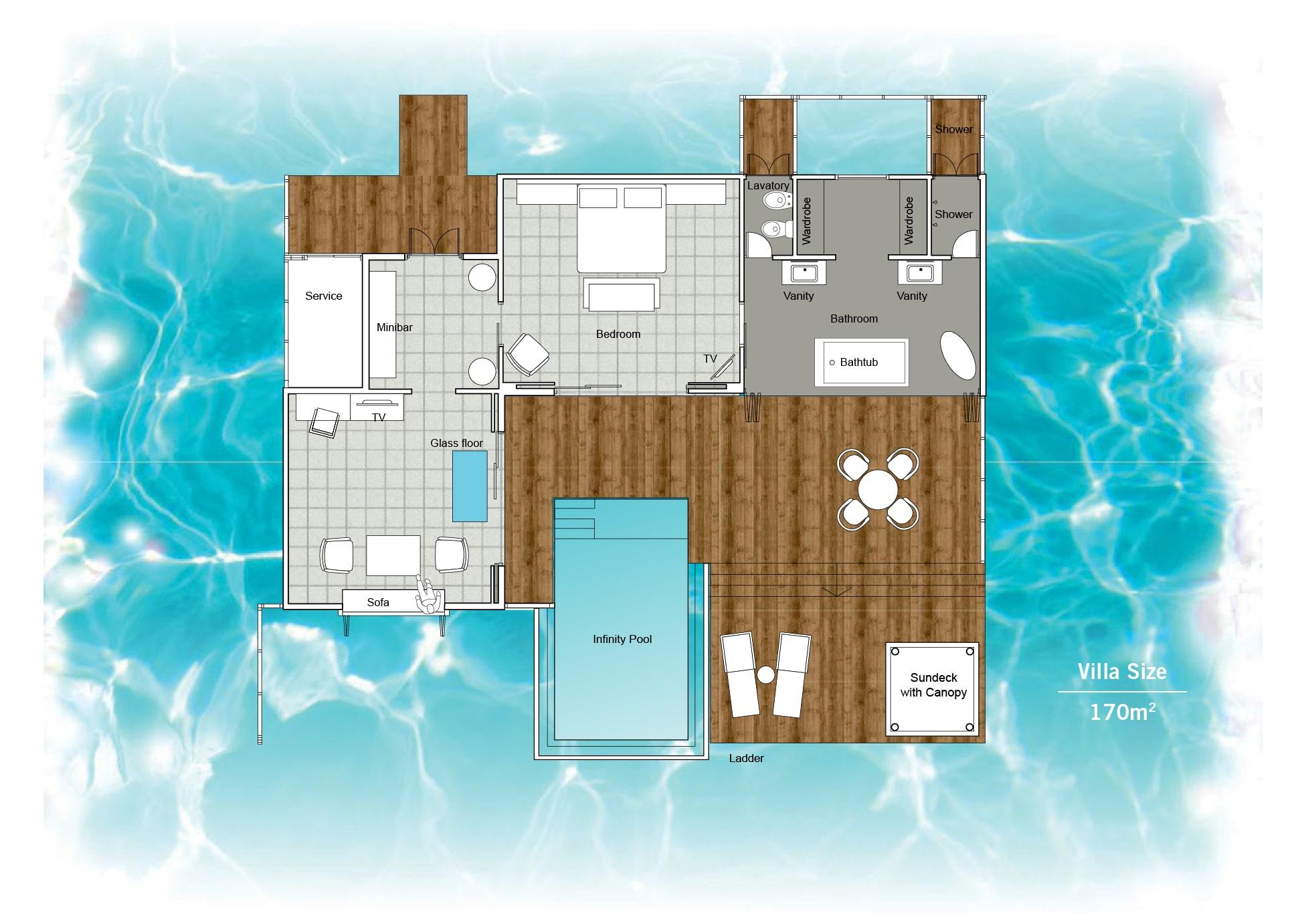 Мальдивы, отель Sun Siyam Iru Fushi, план-схема номера Infinity Water Villa