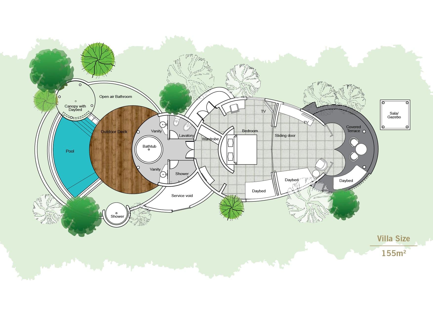 Мальдивы, отель Sun Siyam Iru Fushi, план-схема номера Pool Beach Villa