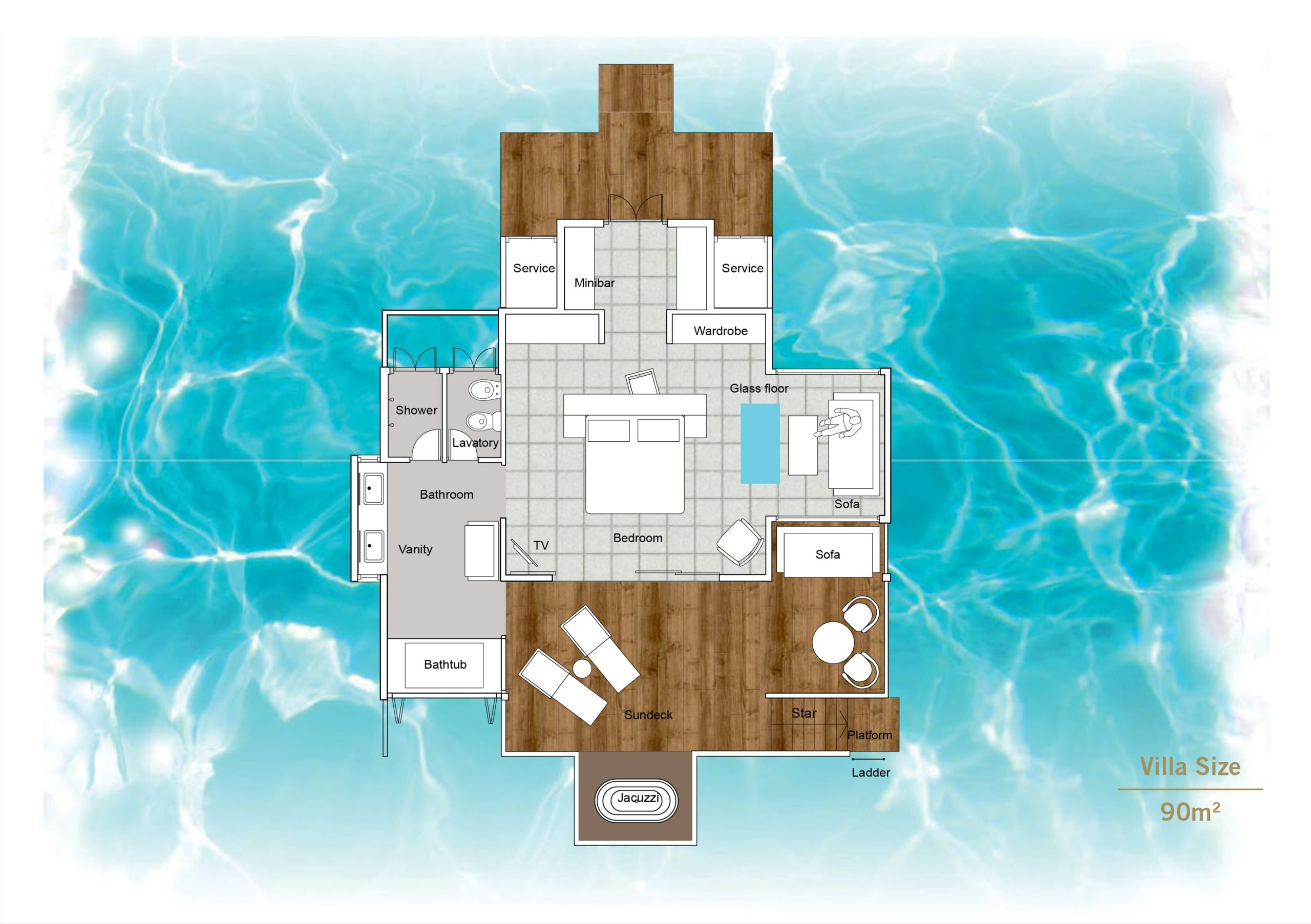 Мальдивы, отель Sun Siyam Iru Fushi, план-схема номера Sunset Horizon Water Villa