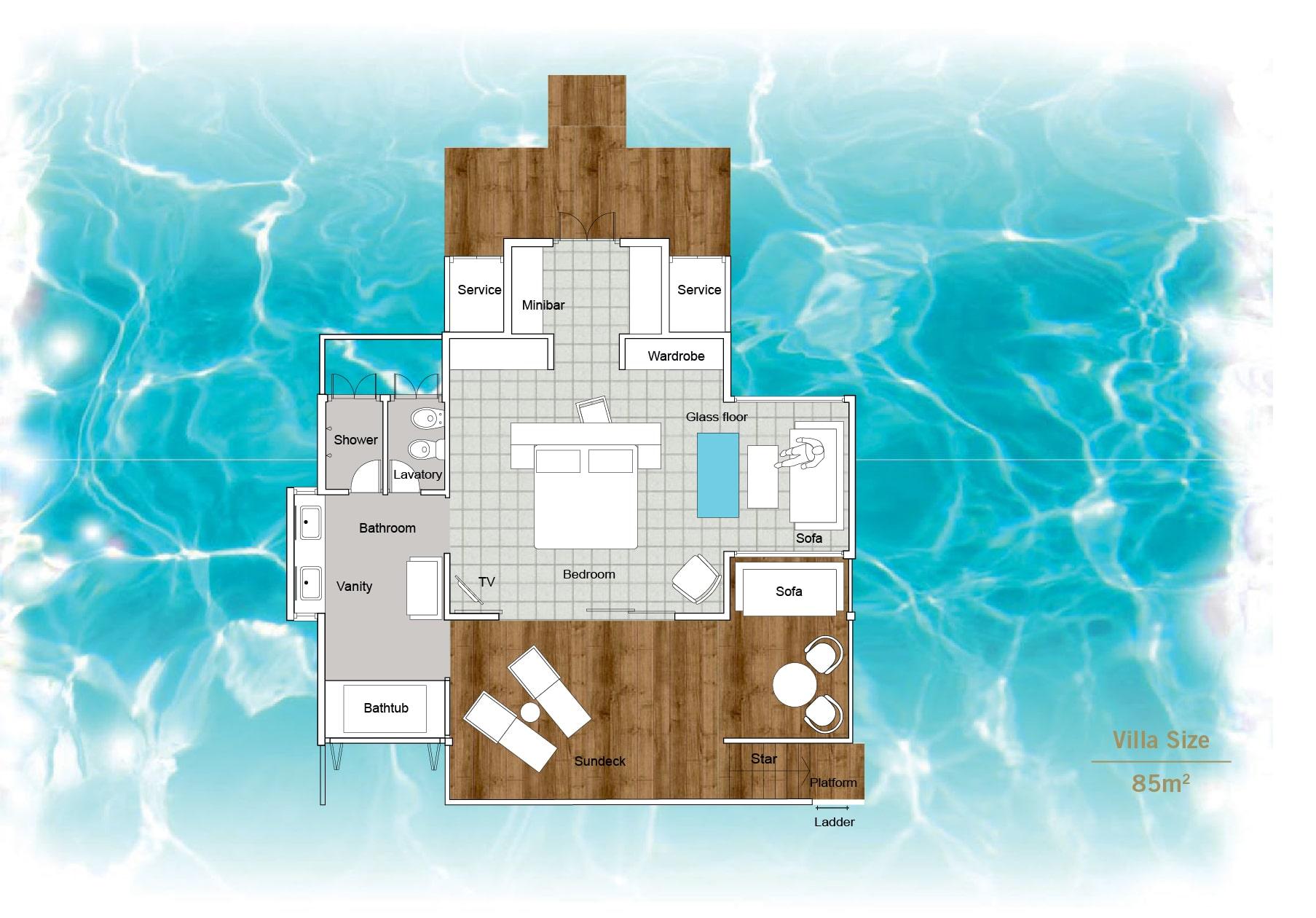 Мальдивы, отель Sun Siyam Iru Fushi, план-схема номера Water Villa