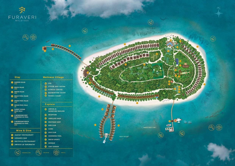 Мальдивы, Furaveri Island Resort, карта отеля