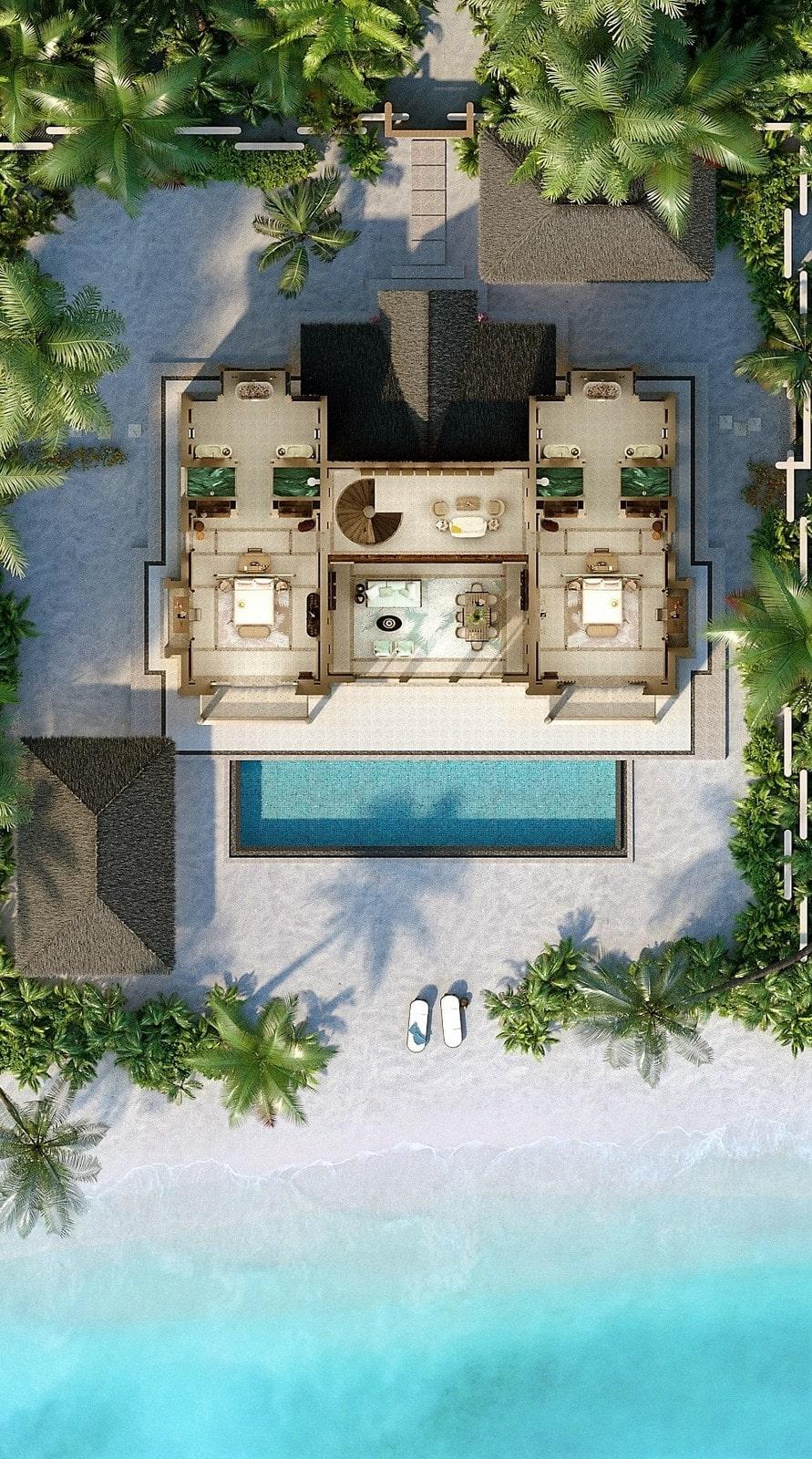 Мальдивы, отель Joali Maldives, план-схема номера Four Bed Room Beach Residence with Pool