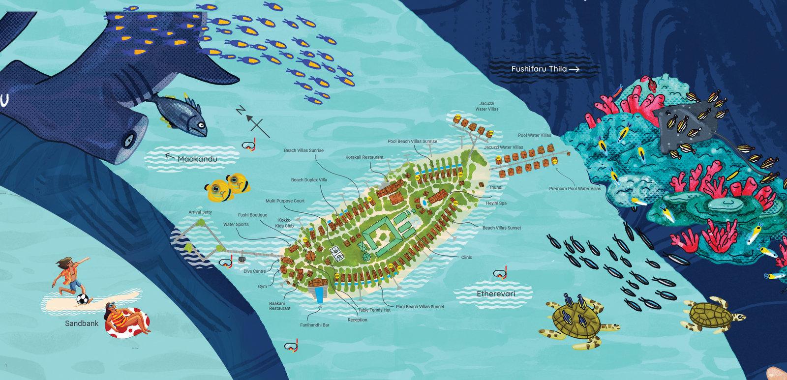Мальдивы, Fushifaru Maldives, карта отеля