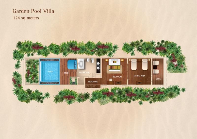 Мальдивы, отель Kurumba Maldives, план-схема номера Garden Pool Villa
