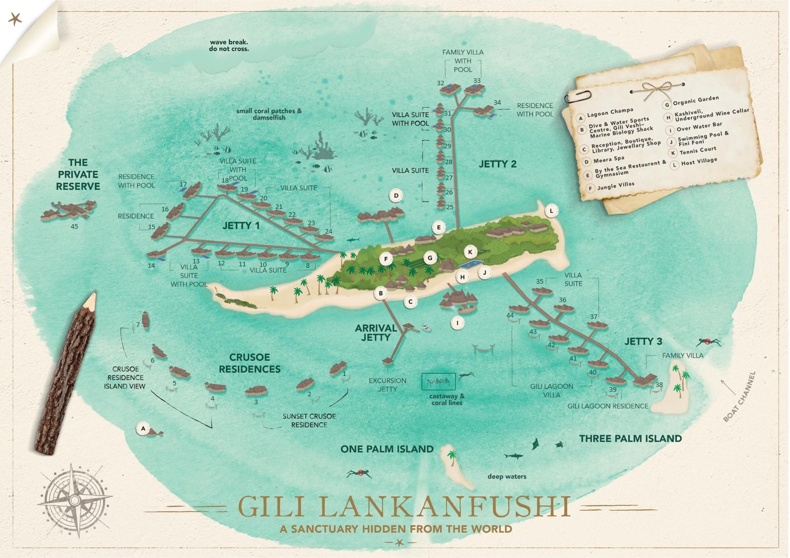 Мальдивы, Gili Lankanfushi Maldives, карта отеля