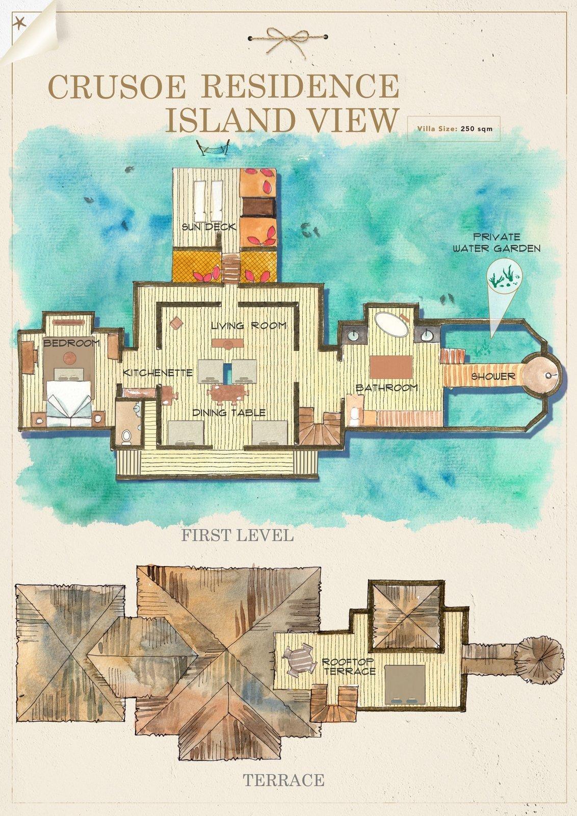 Мальдивы, отель Gili Lankanfushi Maldives, план-схема номера Crusoe Residence