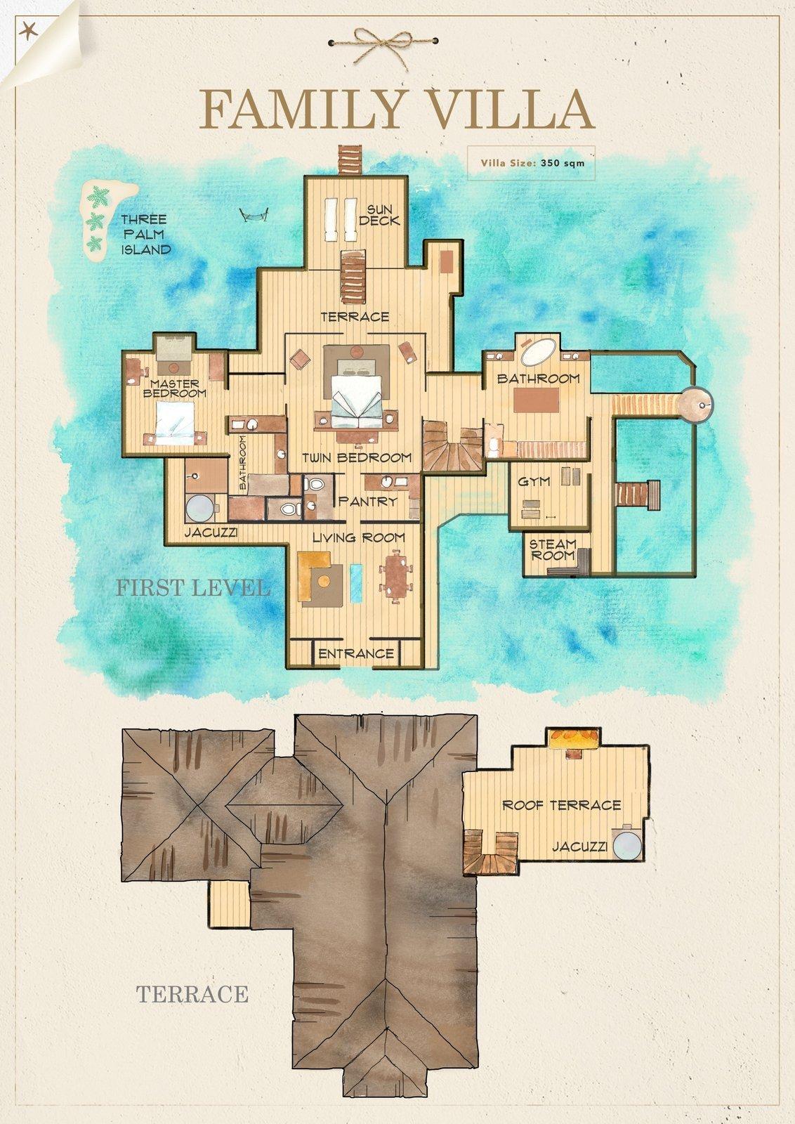 Мальдивы, отель Gili Lankanfushi Maldives, план-схема номера Family Villa