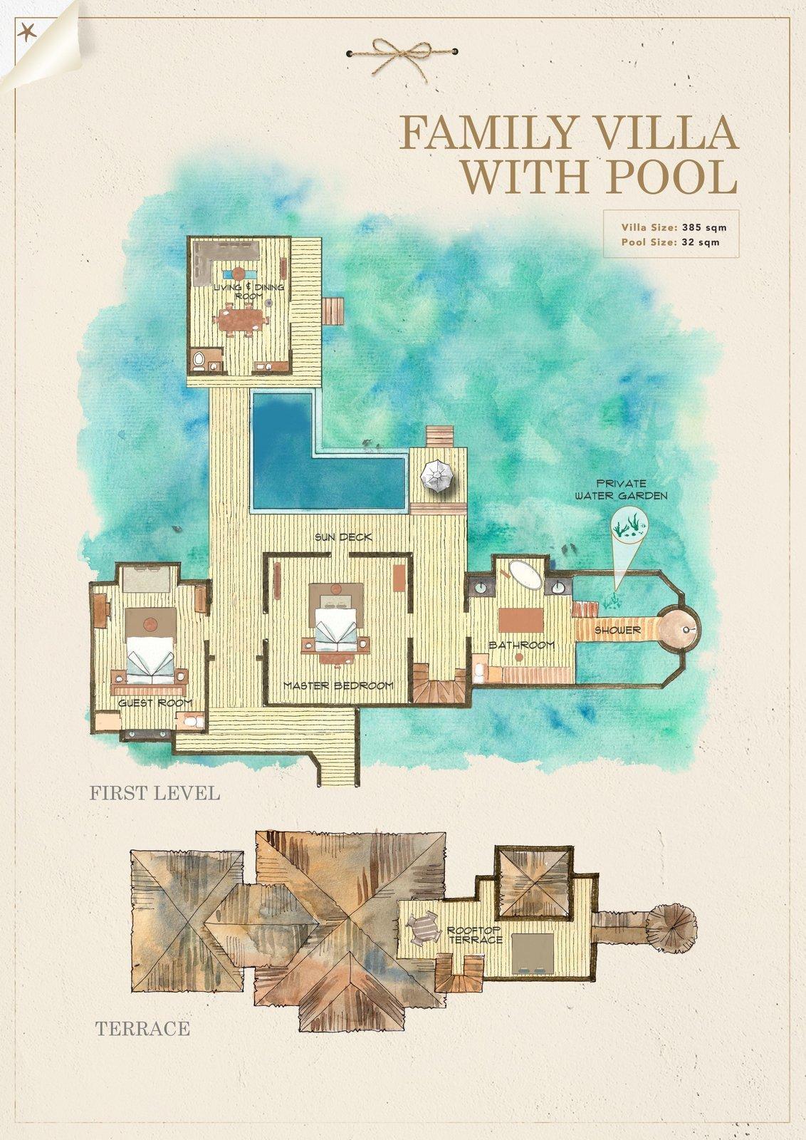 Мальдивы, отель Gili Lankanfushi Maldives, план-схема номера Family Villa with Pool