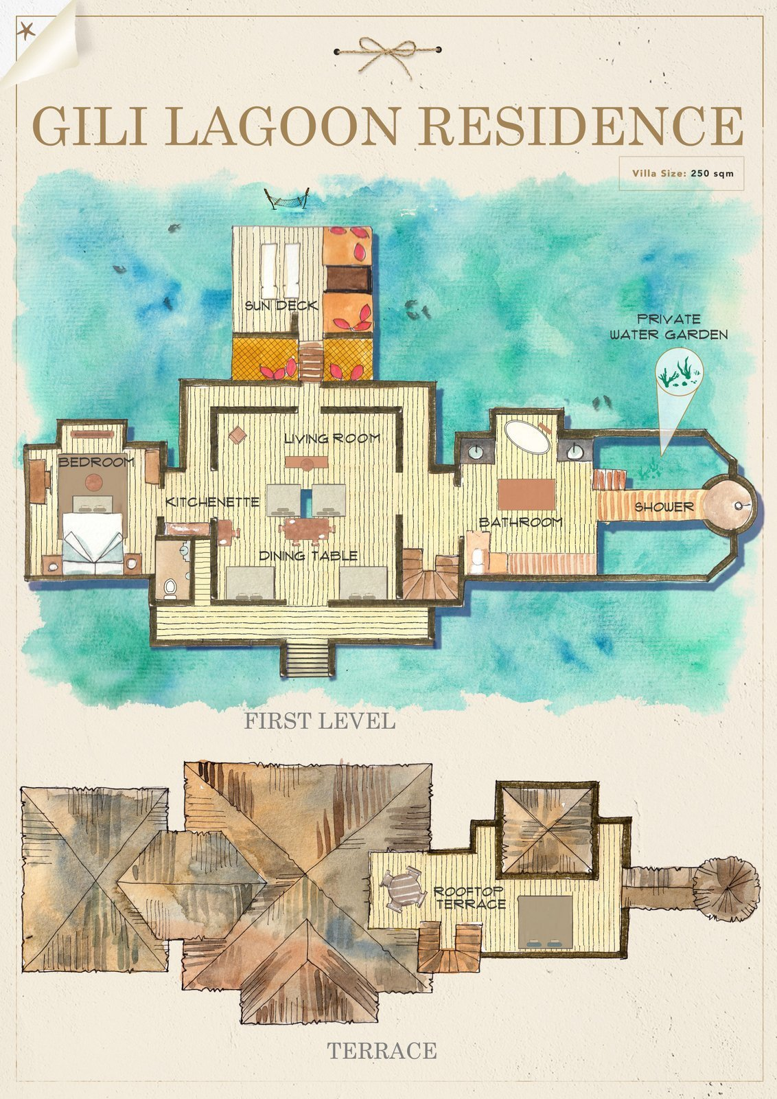 Мальдивы, отель Gili Lankanfushi Maldives, план-схема номера Gili Lagoon Residence
