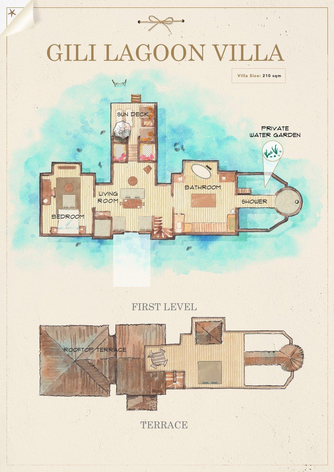 Мальдивы, отель Gili Lankanfushi Maldives, план-схема номера Gili Lagoon Villa