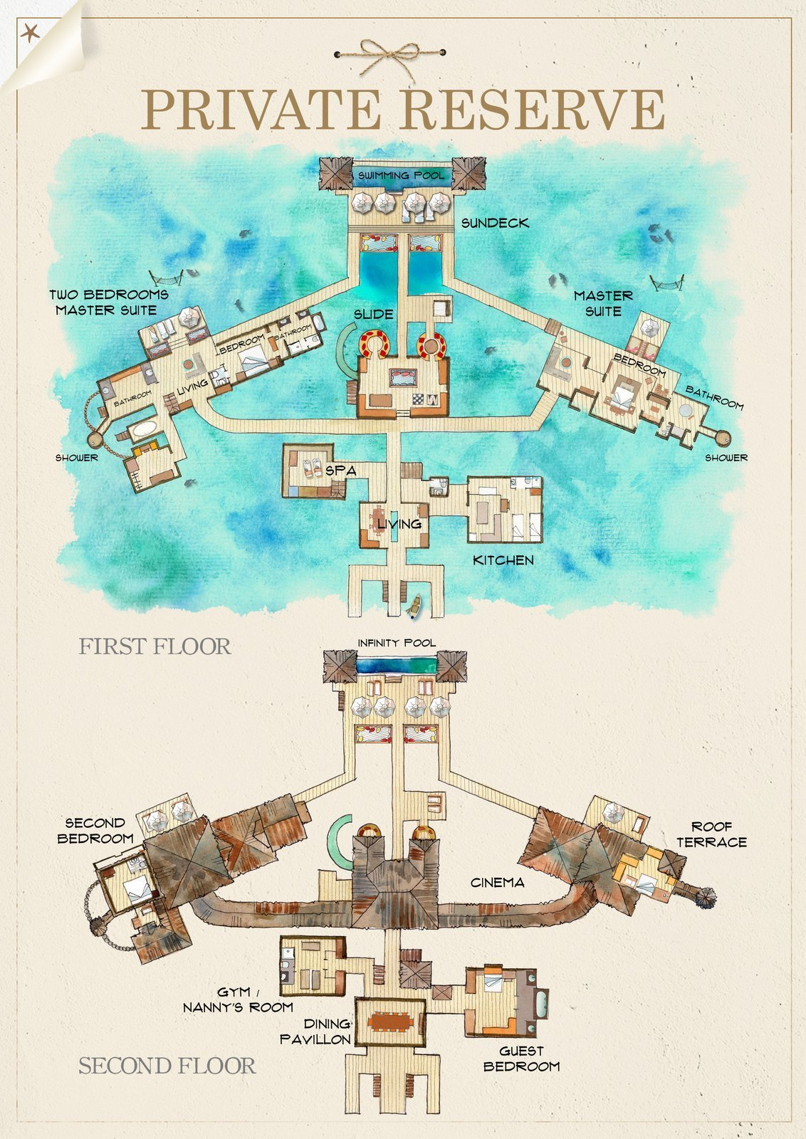 Мальдивы, отель Gili Lankanfushi Maldives, план-схема номера The Private Reserve
