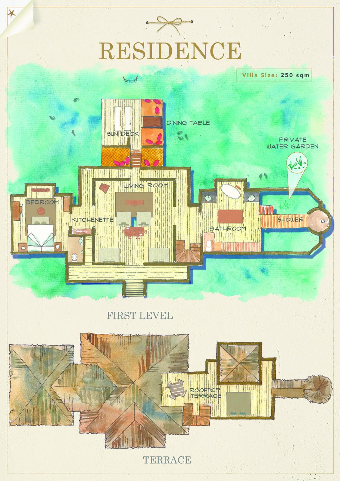 Мальдивы, отель Gili Lankanfushi Maldives, план-схема номера Residence