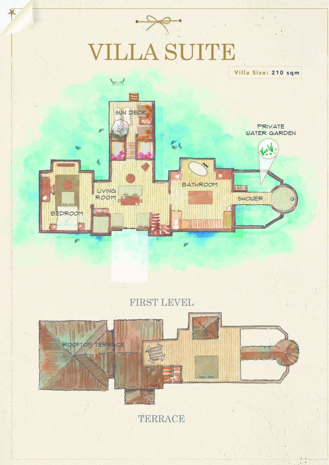 Мальдивы, отель Gili Lankanfushi Maldives, план-схема номера Villa Suite