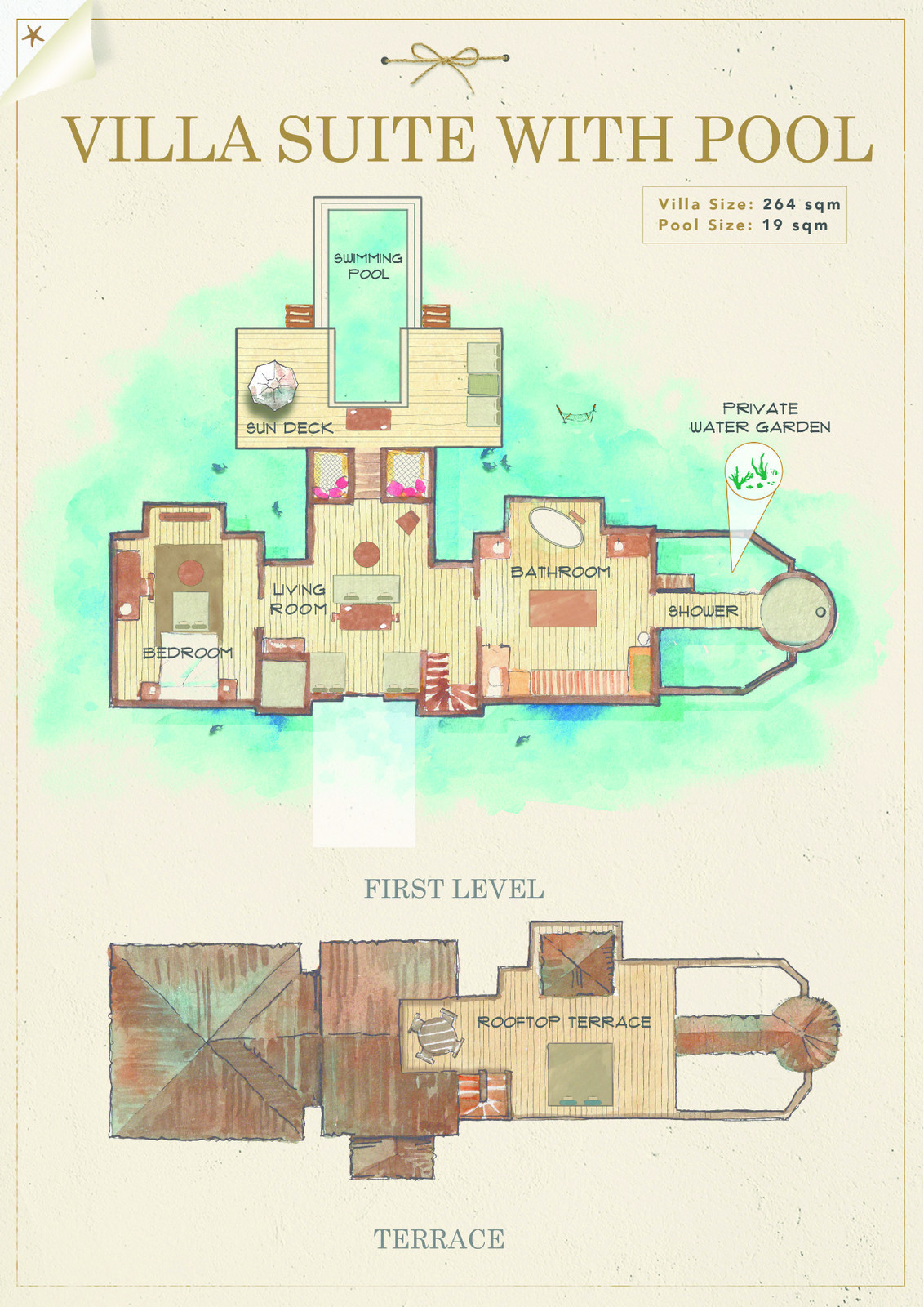 Мальдивы, отель Gili Lankanfushi Maldives, план-схема номера Villa Suite with Pool