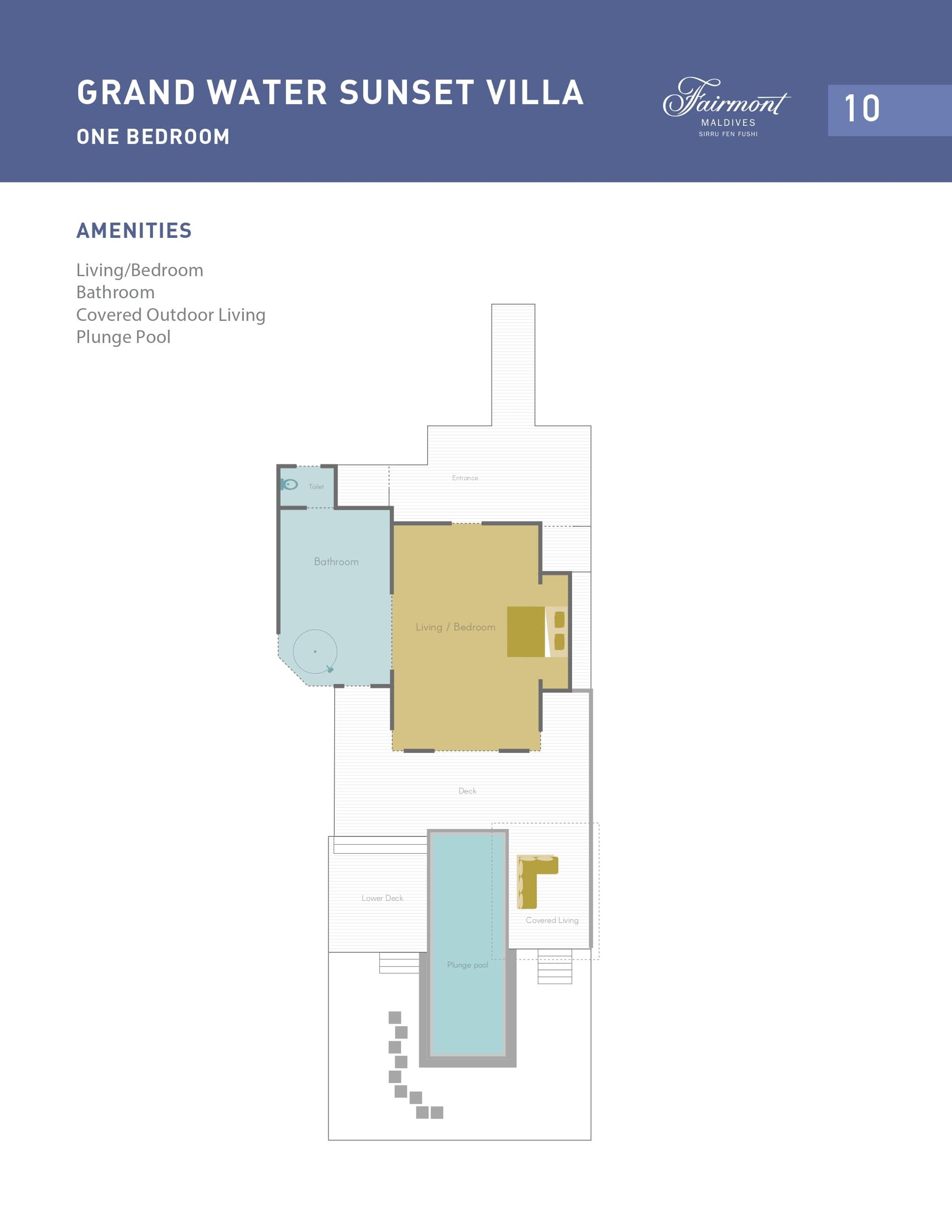 Мальдивы, отель Fairmont Maldives Sirru Fen Fushi, план-схема номера Grand Water Sunset Villa