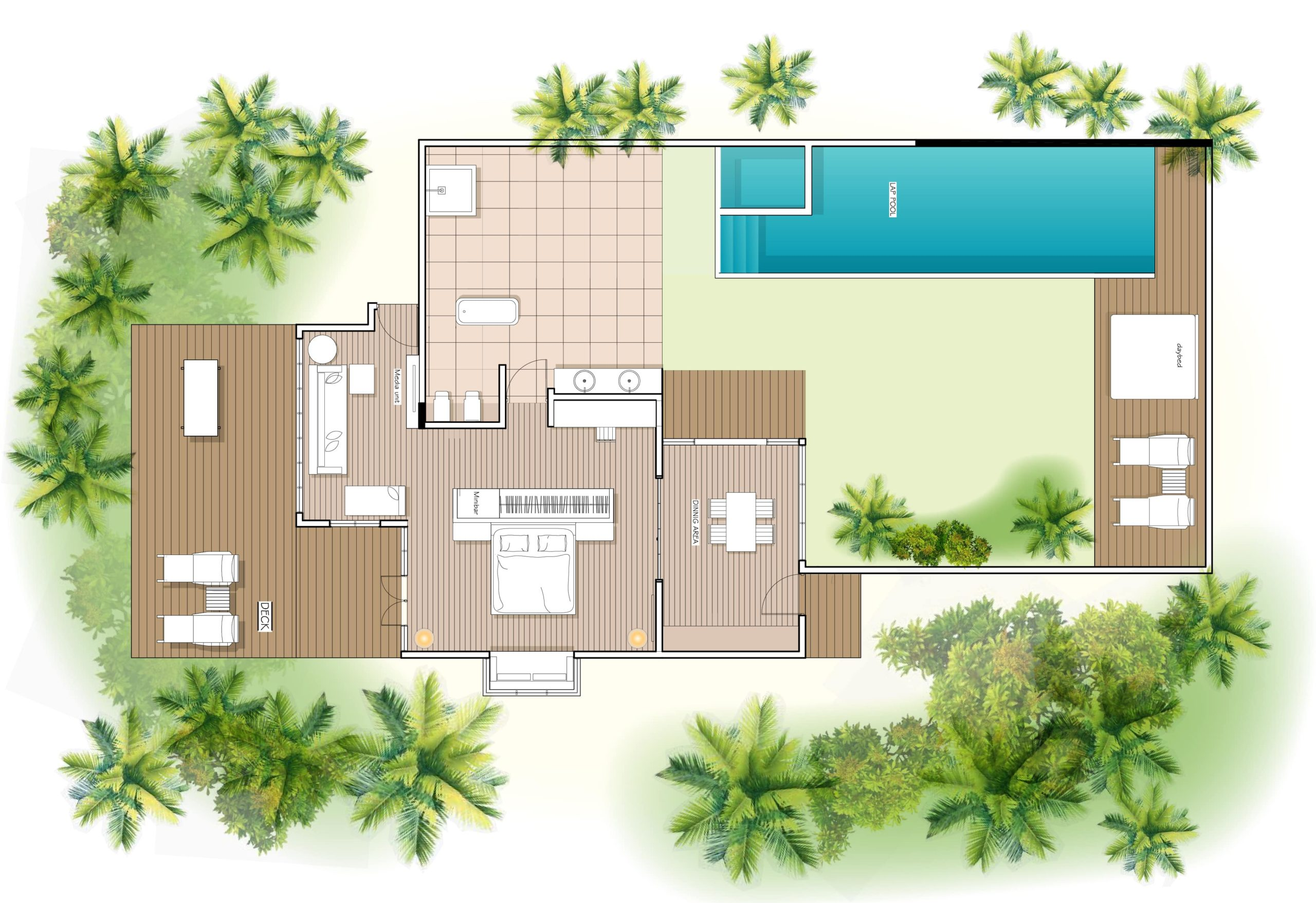 Мальдивы, отель Kuramathi Maldives, план-схема номера Honeymoon Pool Villa