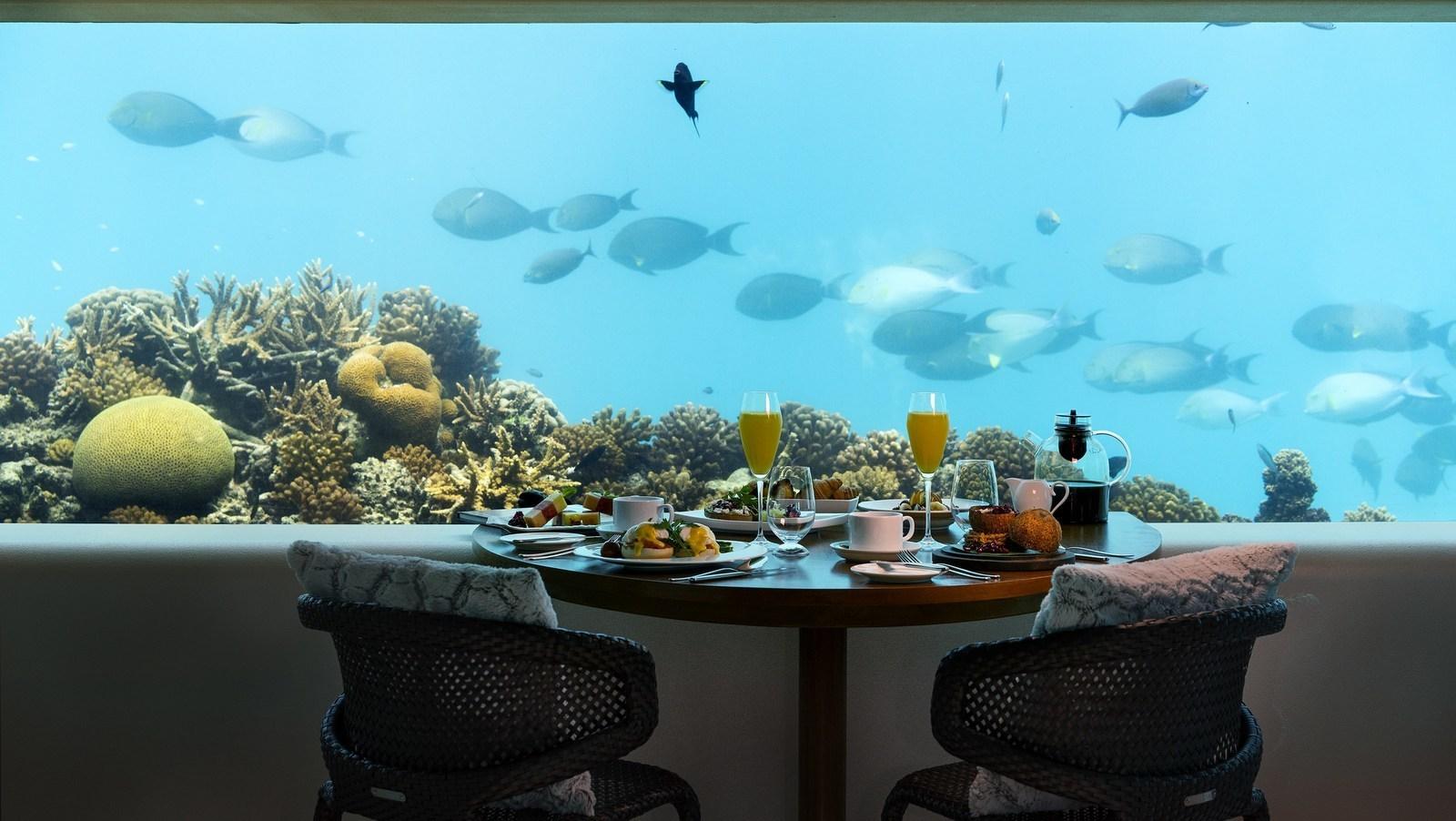 Мальдивы, отель Huvafen Fushi Maldives, подводный ресторан