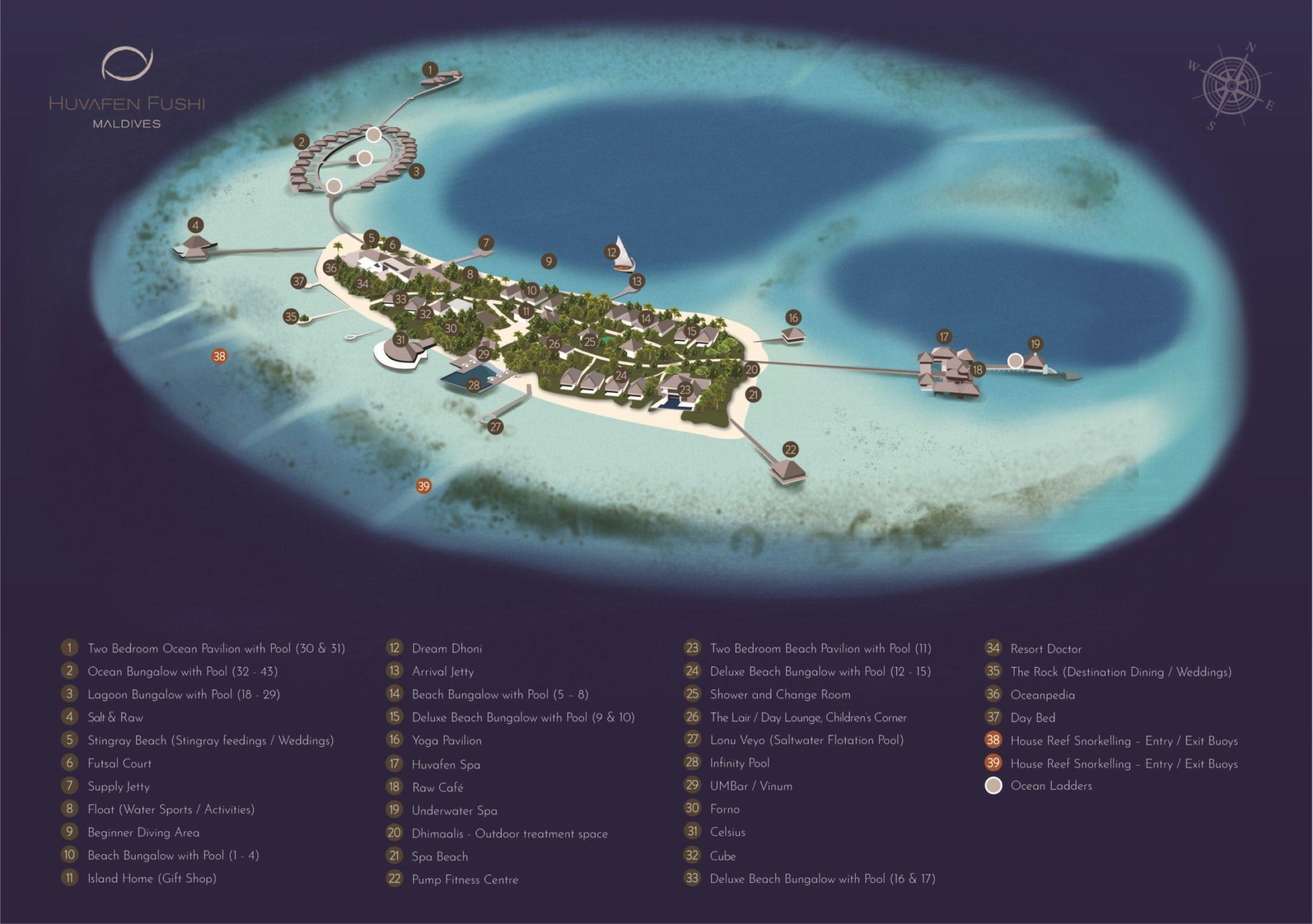 Мальдивы, Huvafen Fushi Maldives, карта отеля