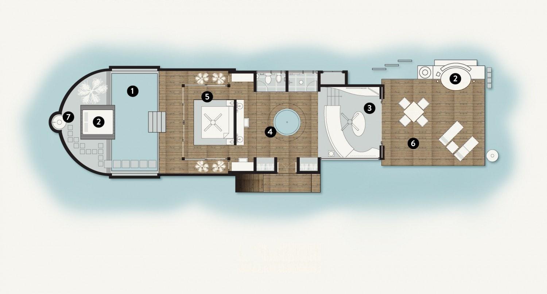Мальдивы, отель Coco Palm Bodu Hithi, план-схема номера Island Villa with Pool