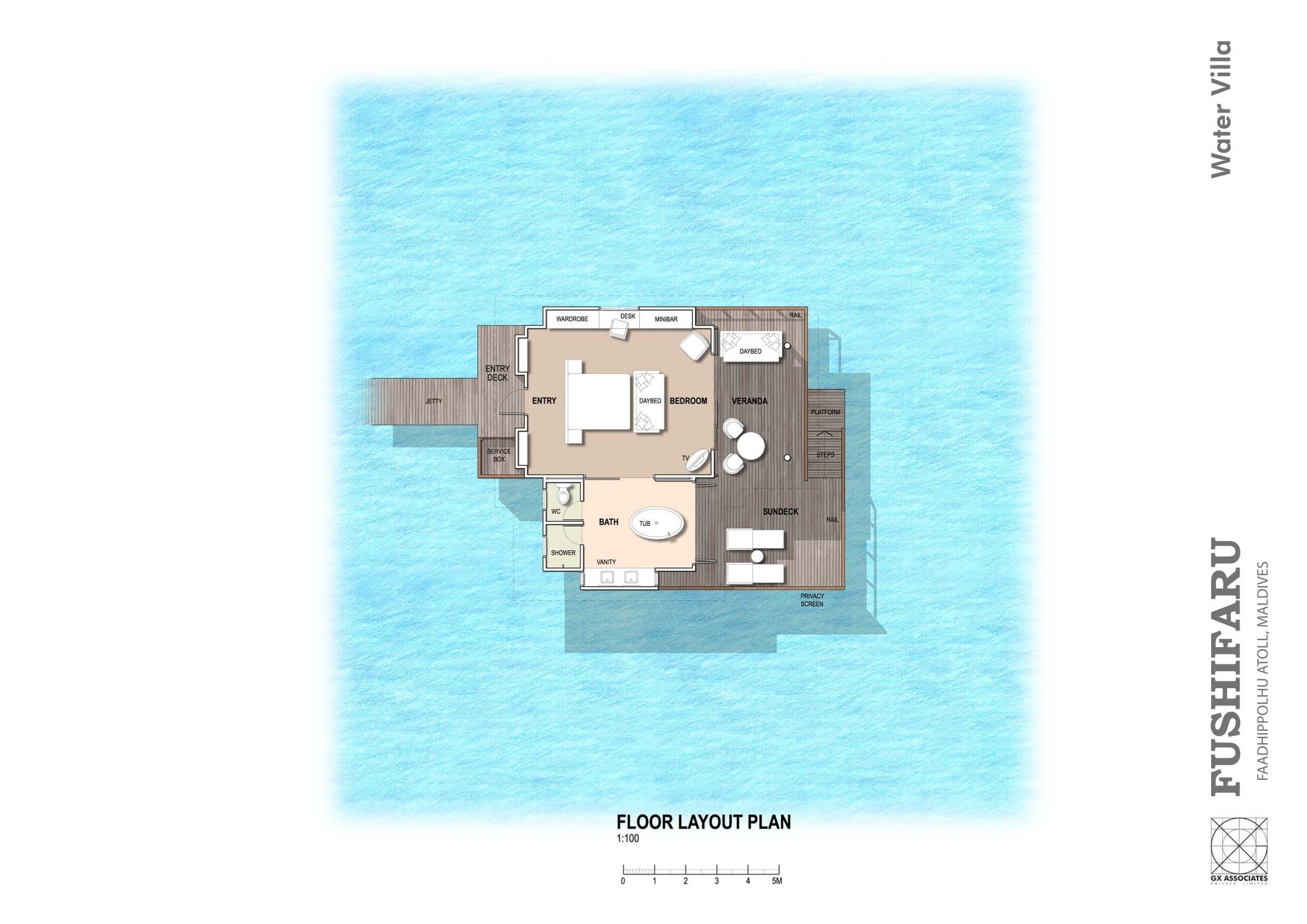Мальдивы, отель Fushifaru Maldives, план-схема номера Jacuzzi Water Villa