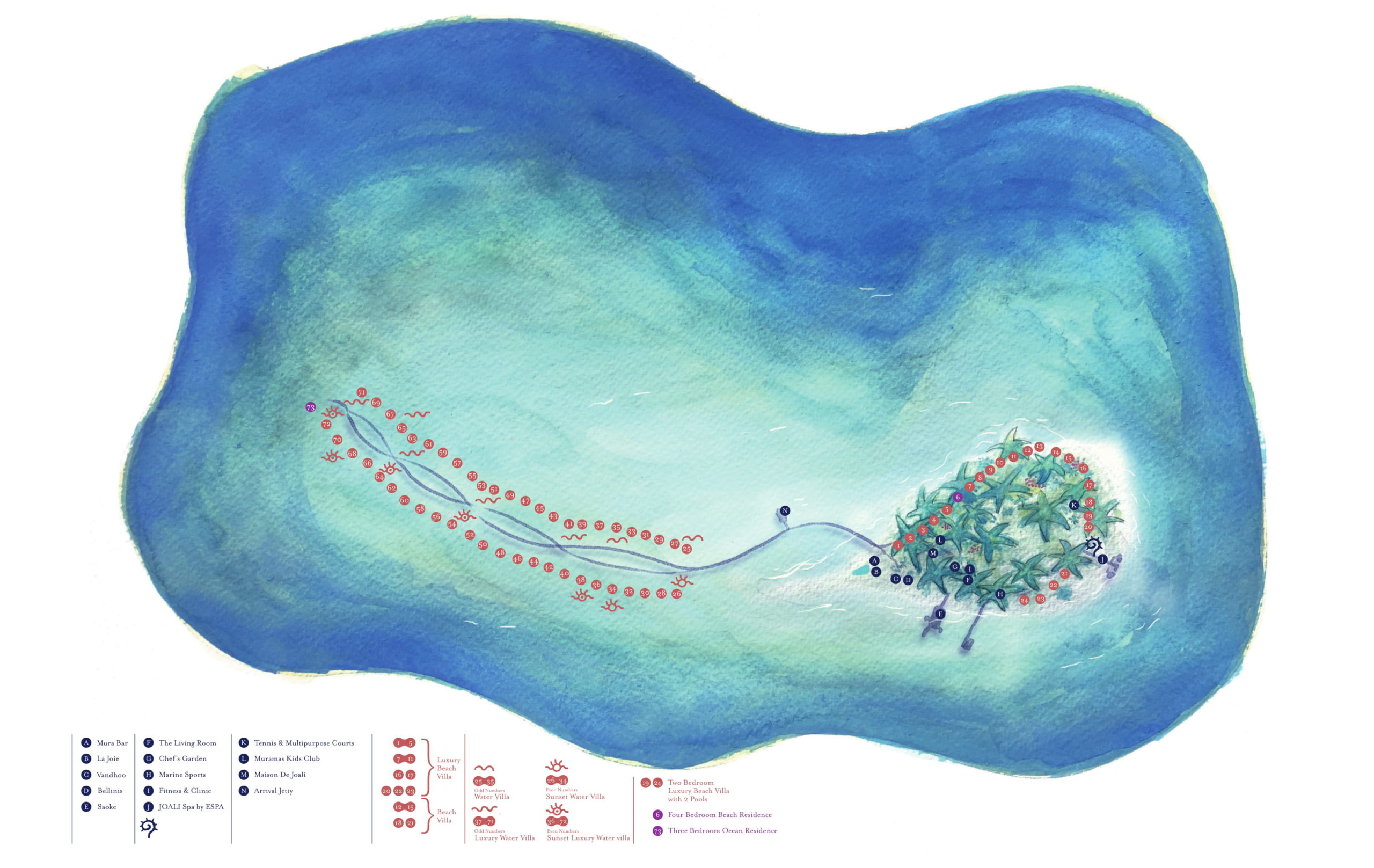 Мальдивы, Joali Maldives, карта отеля