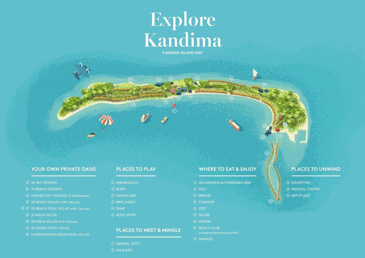 Мальдивы, Kandima Maldives, карта отеля