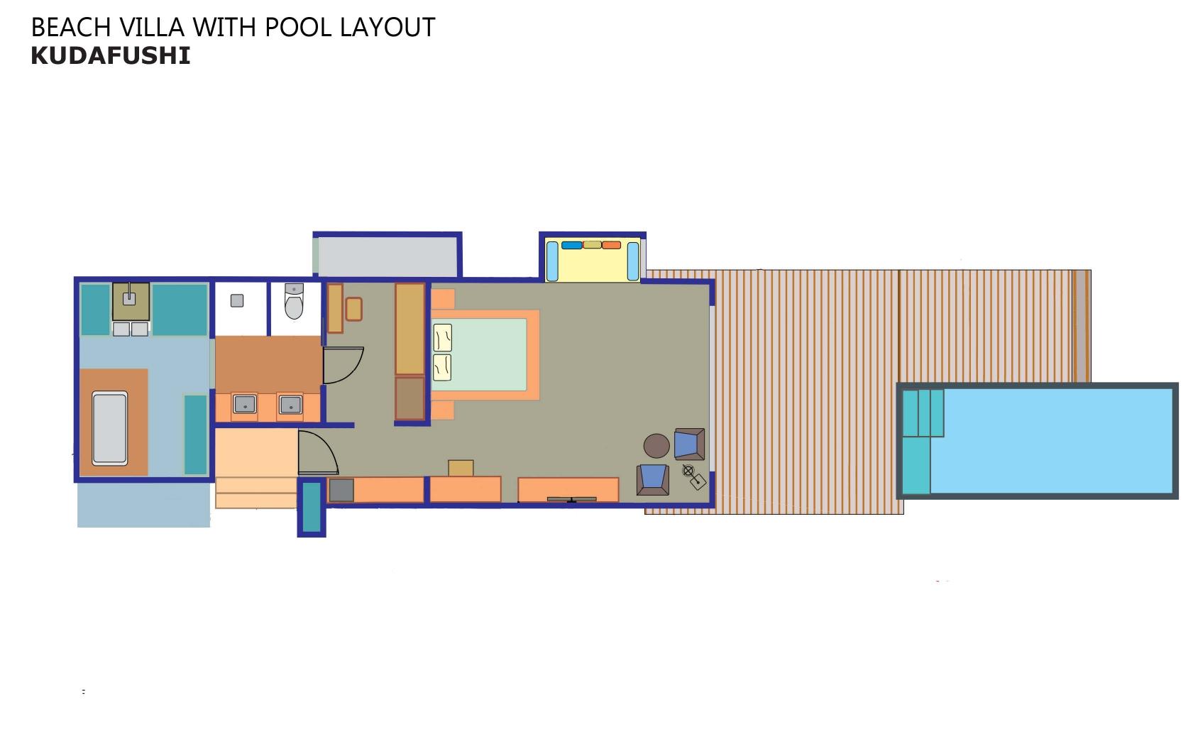 Мальдивы, отель Kudafushi Resort, план-схема номера Beach Pool Villa