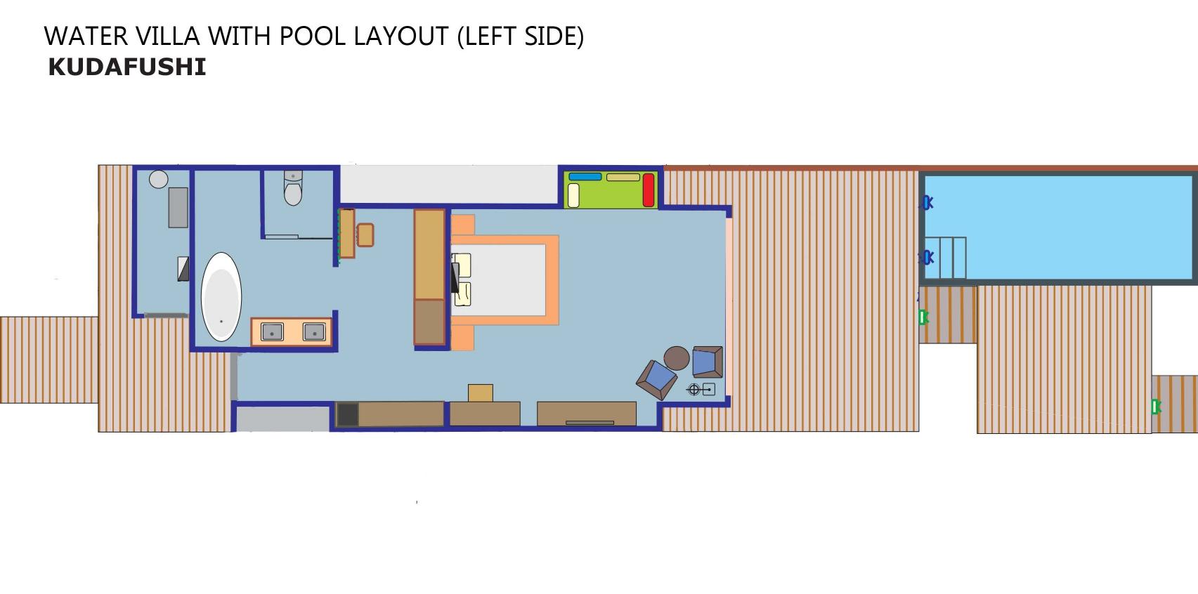 Мальдивы, отель Kudafushi Resort, план-схема номера Water Pool Villa