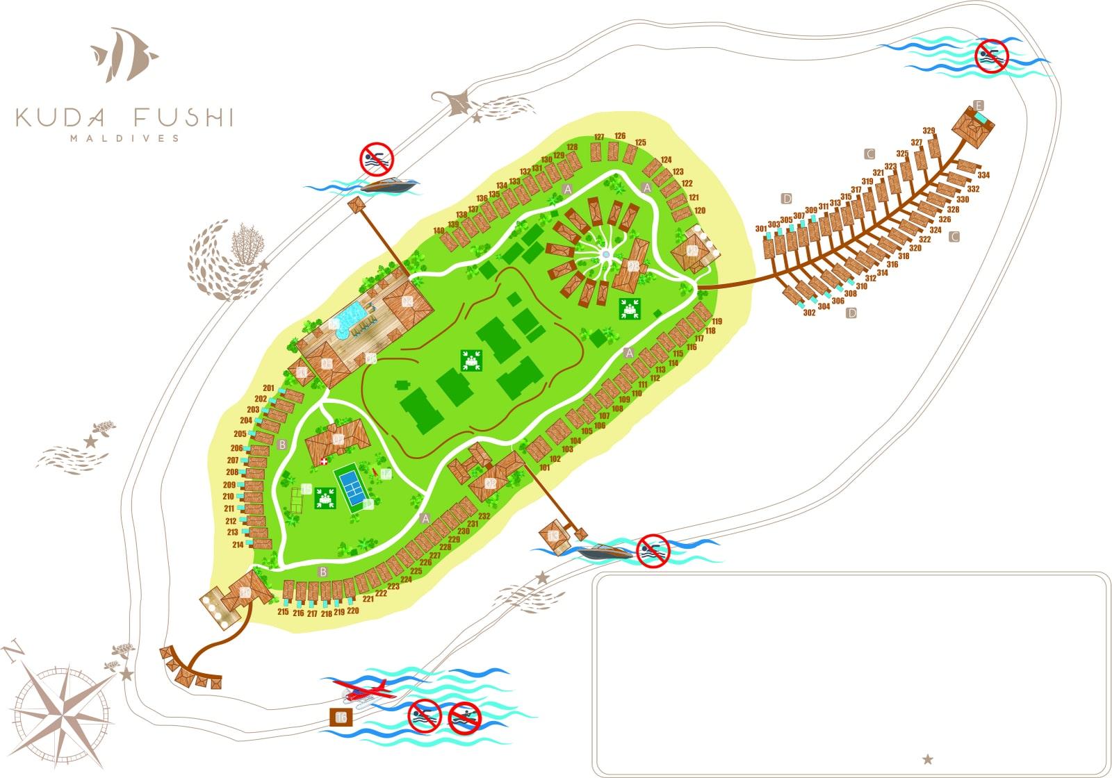 Мальдивы, Kudafushi Resort, карта отеля