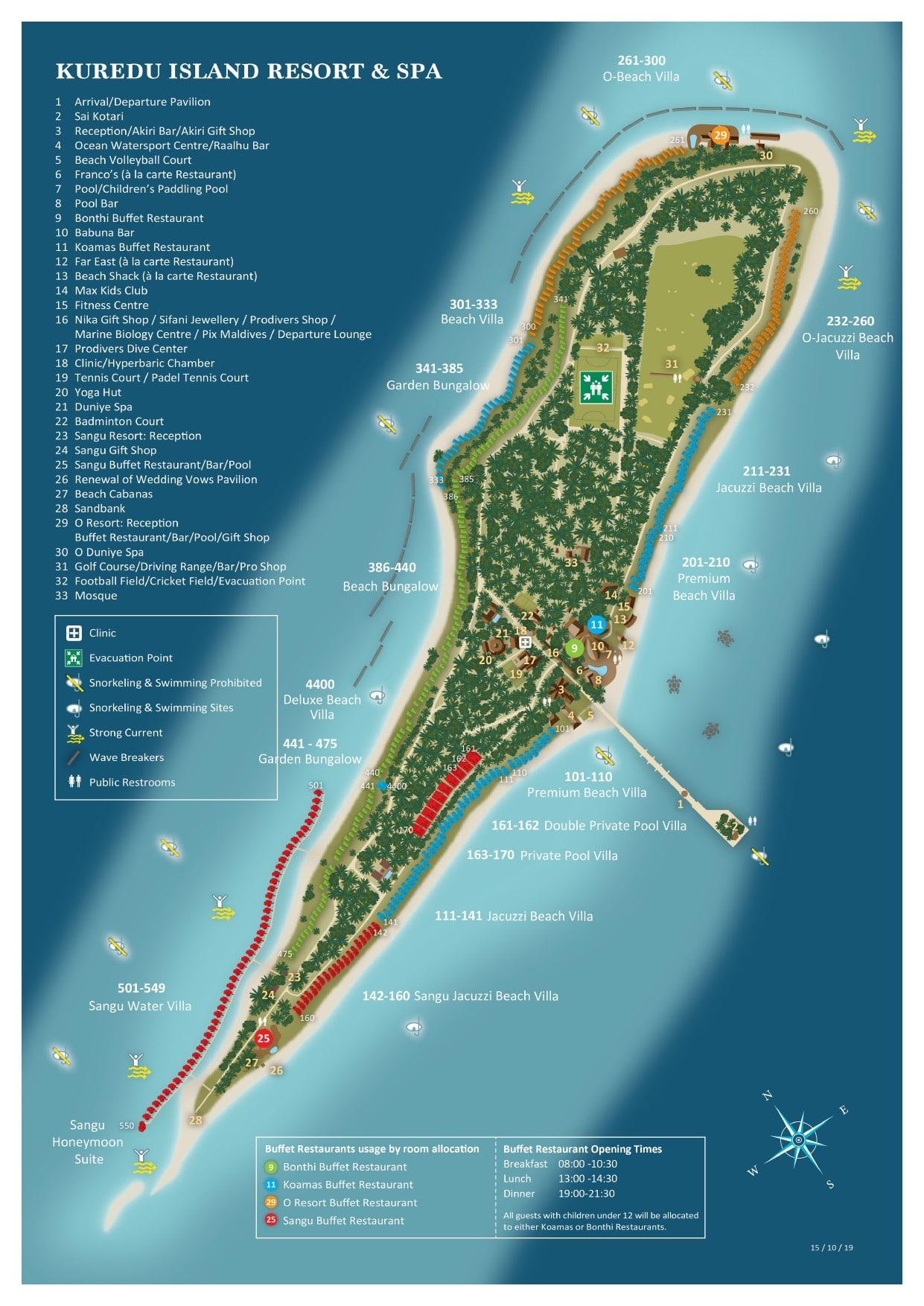 Мальдивы, Kuredu Island Resort, карта отеля