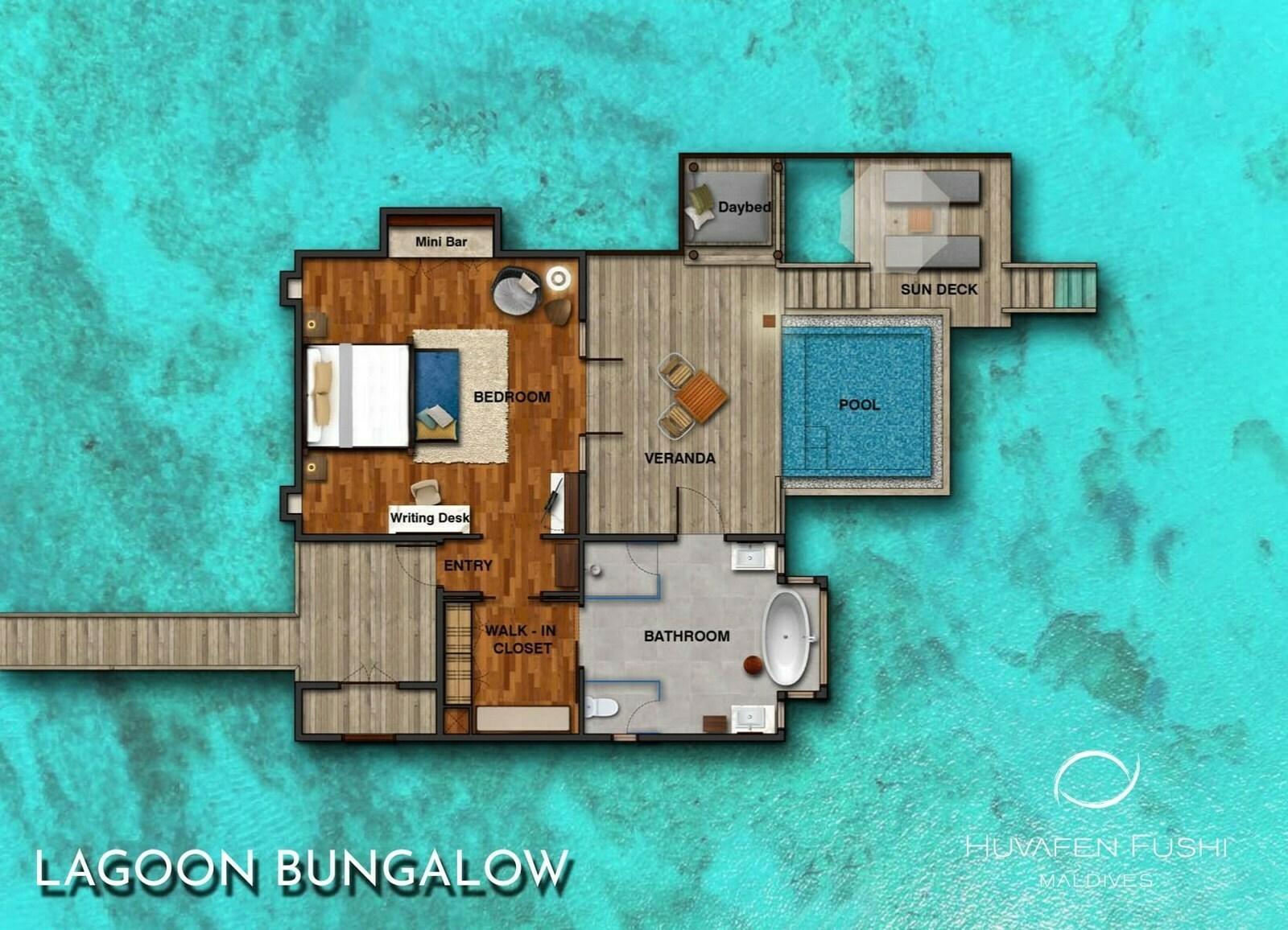 Мальдивы, отель Huvafen Fushi Maldives, план-схема номера Lagoon Bungalow with Pool