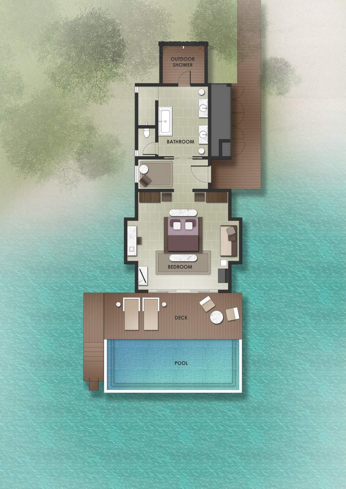 Мальдивы, отель The Residence Maldives at Dhigurah, план-схема номера Lagoon Pool Villa