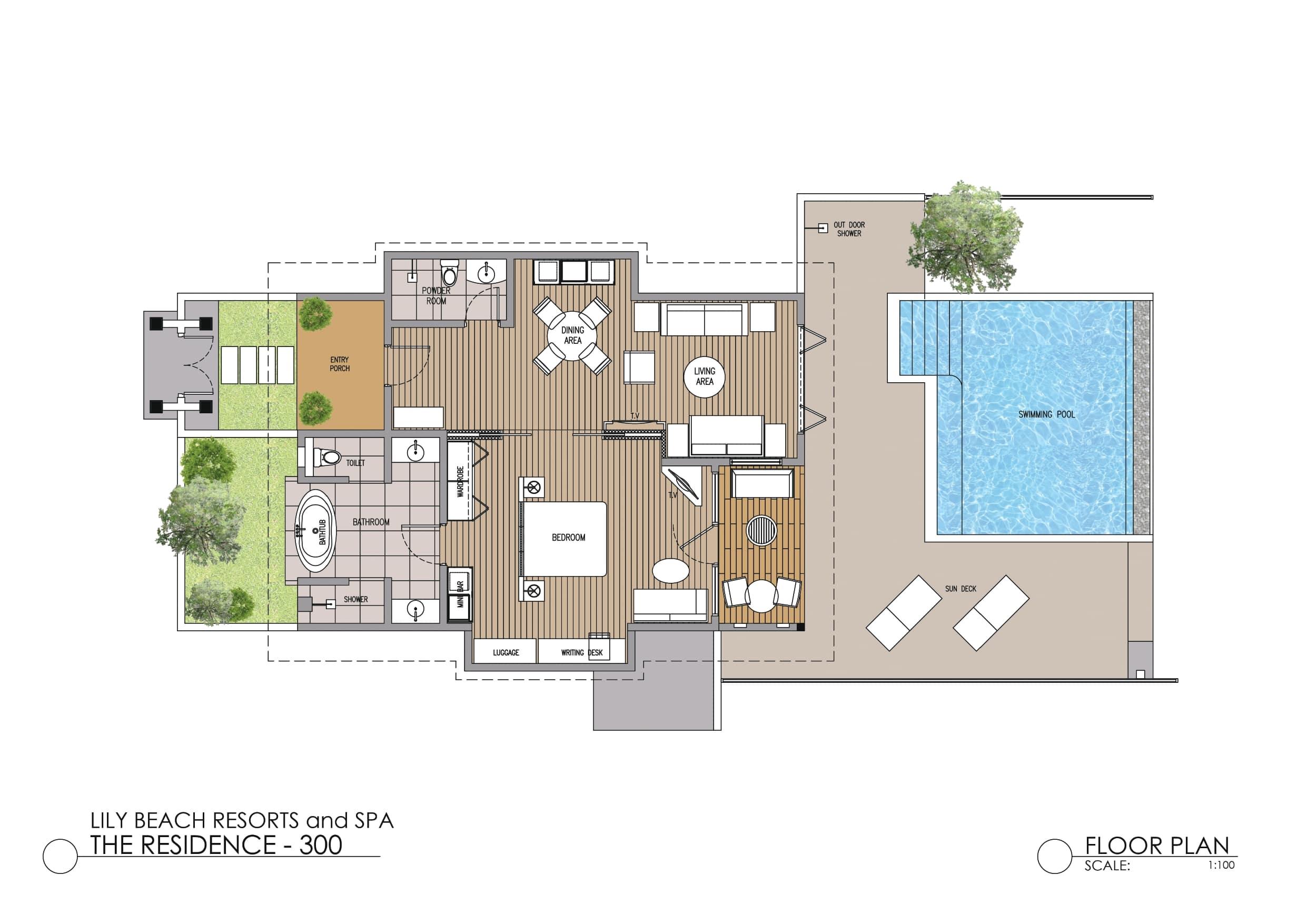 Мальдивы, отель Lily Beach Resort, план-схема номера Beach Residence with Pool
