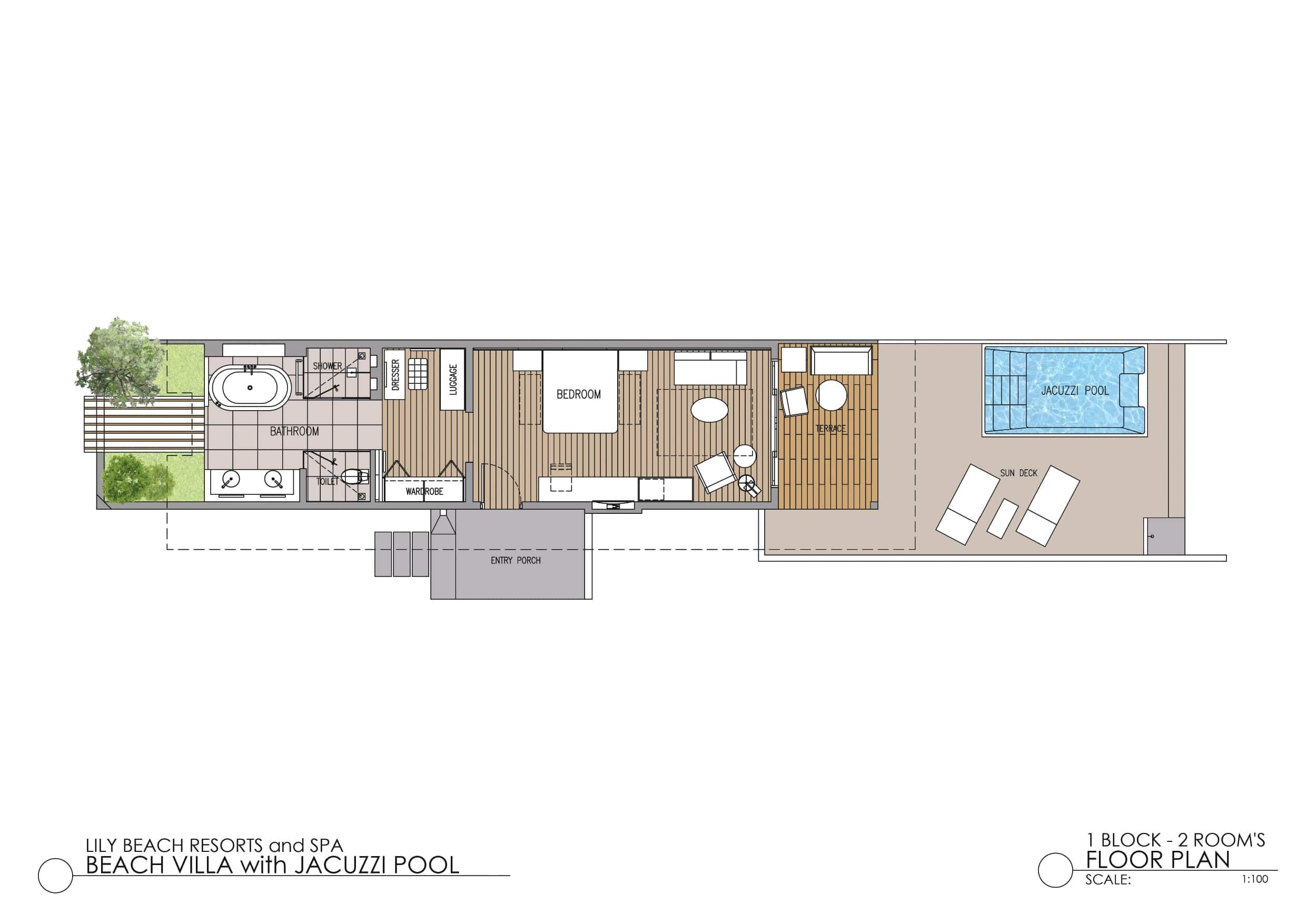 Мальдивы, отель Lily Beach Resort, план-схема номера Beach Suite with Jacuzzi