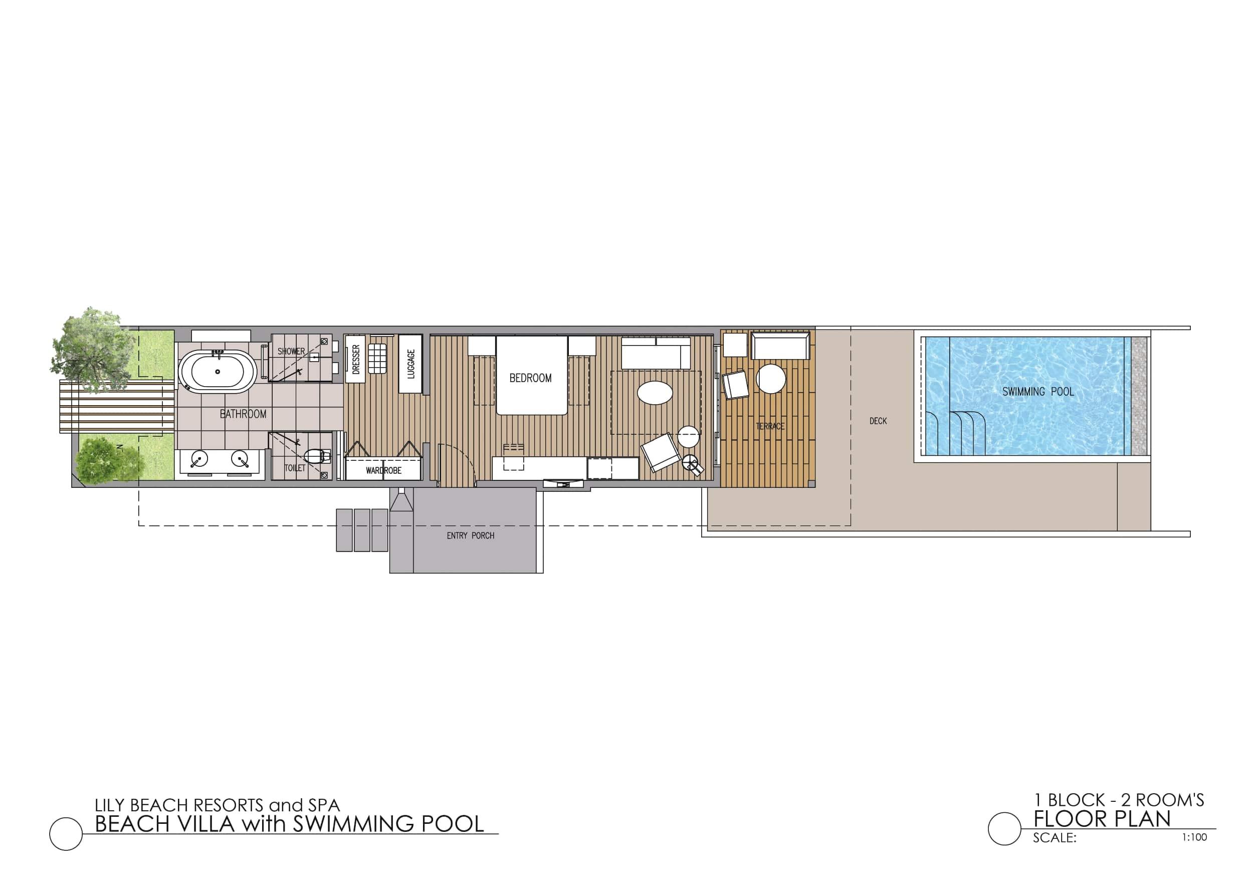 Мальдивы, отель Lily Beach Resort, план-схема номера Beach Suite with Pool