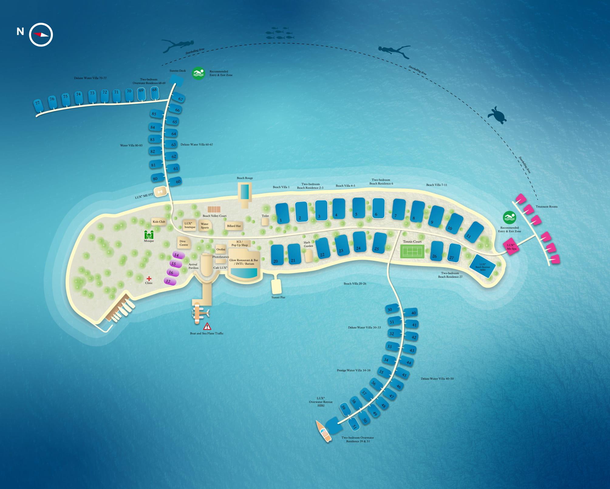 Мальдивы, LUX North Male Atoll, карта отеля