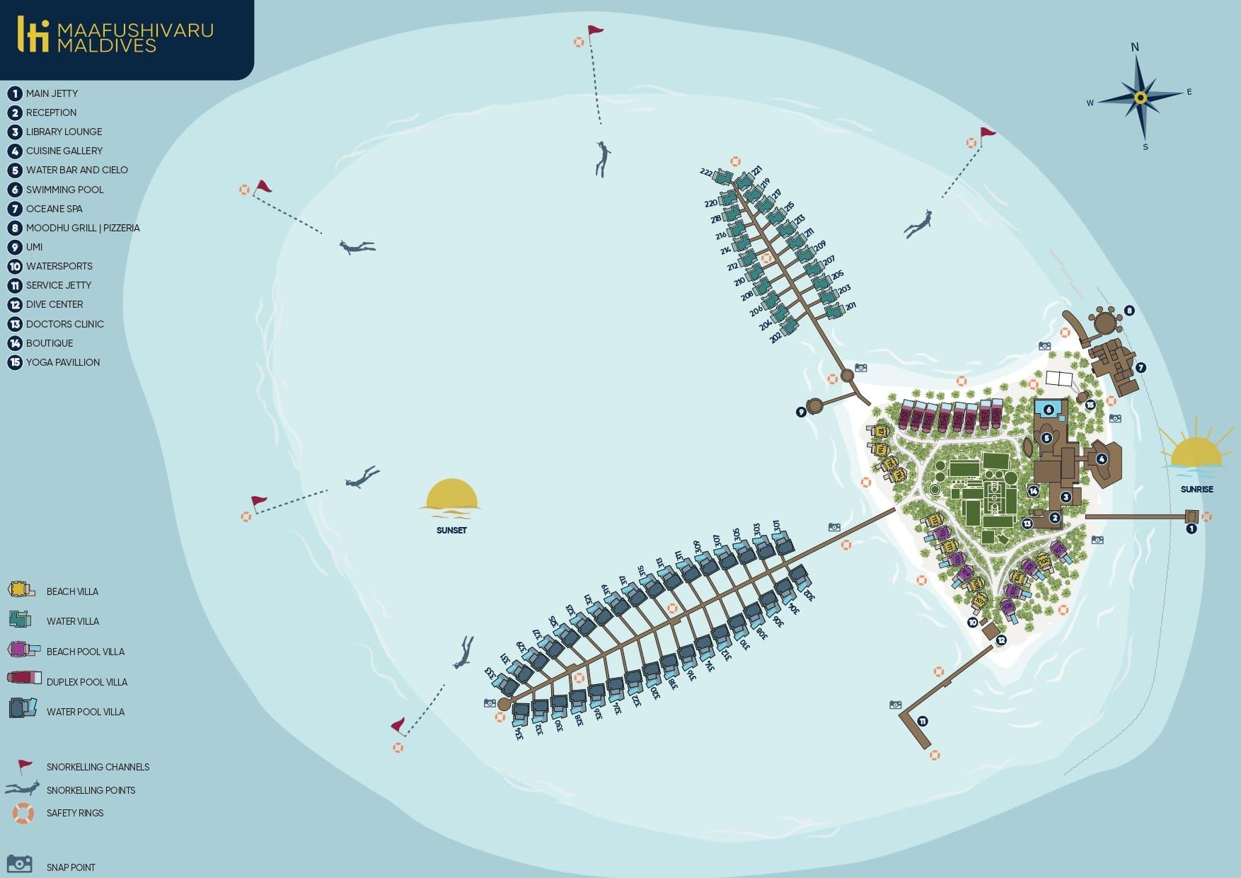 Мальдивы, LTI Maafushivaru Maldives, карта отеля