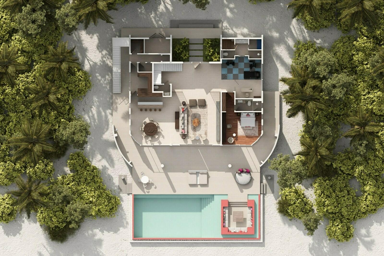 Мальдивы, отель LUX North Male Atoll, план-схема номера LUX Beach Retreat 3 Bedroom
