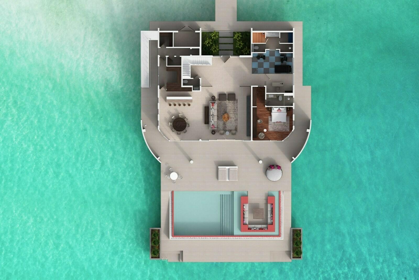 Мальдивы, отель LUX North Male Atoll, план-схема номера LUX* Overwater Retreat 3 Bedroom