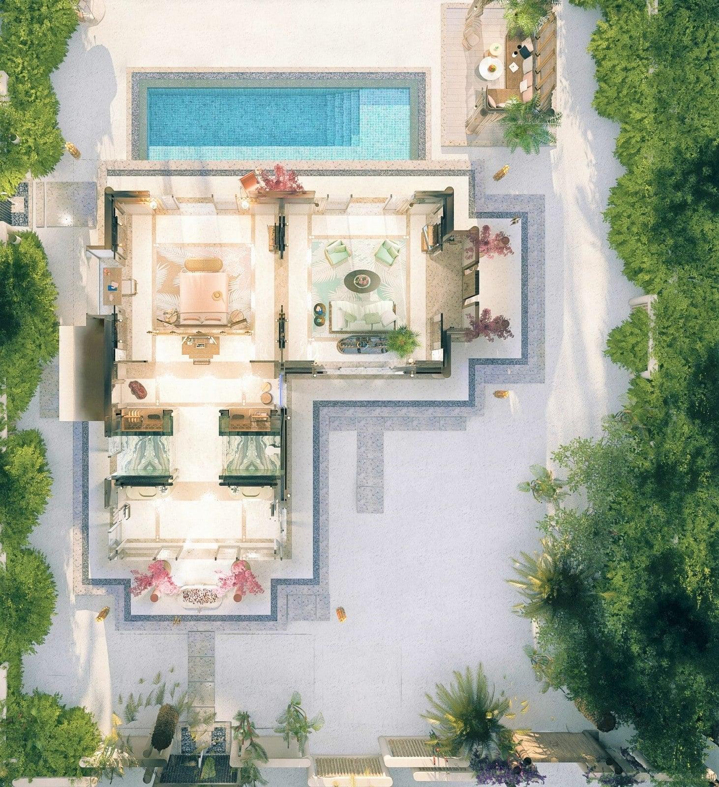 Мальдивы, отель Joali Maldives, план-схема номера Luxury Beach Villa with Pool