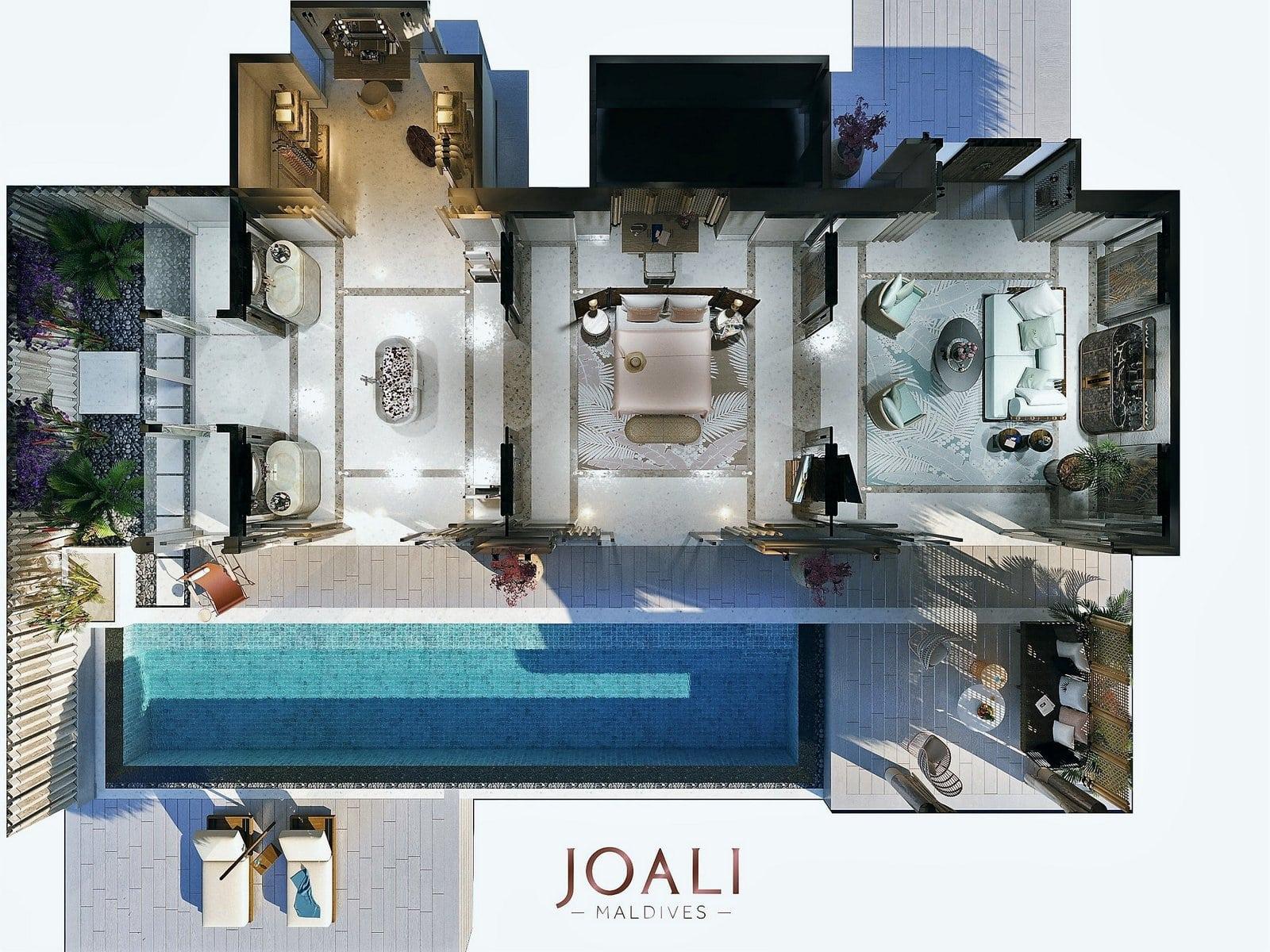 Мальдивы, отель Joali Maldives, план-схема номера Luxury Water Villa with Pool