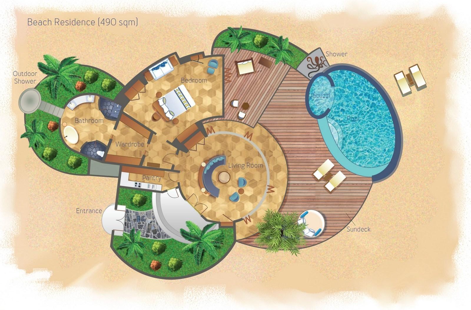 Мальдивы, отель Milaidhoo Island Maldives, план-схема номера Beach Residence