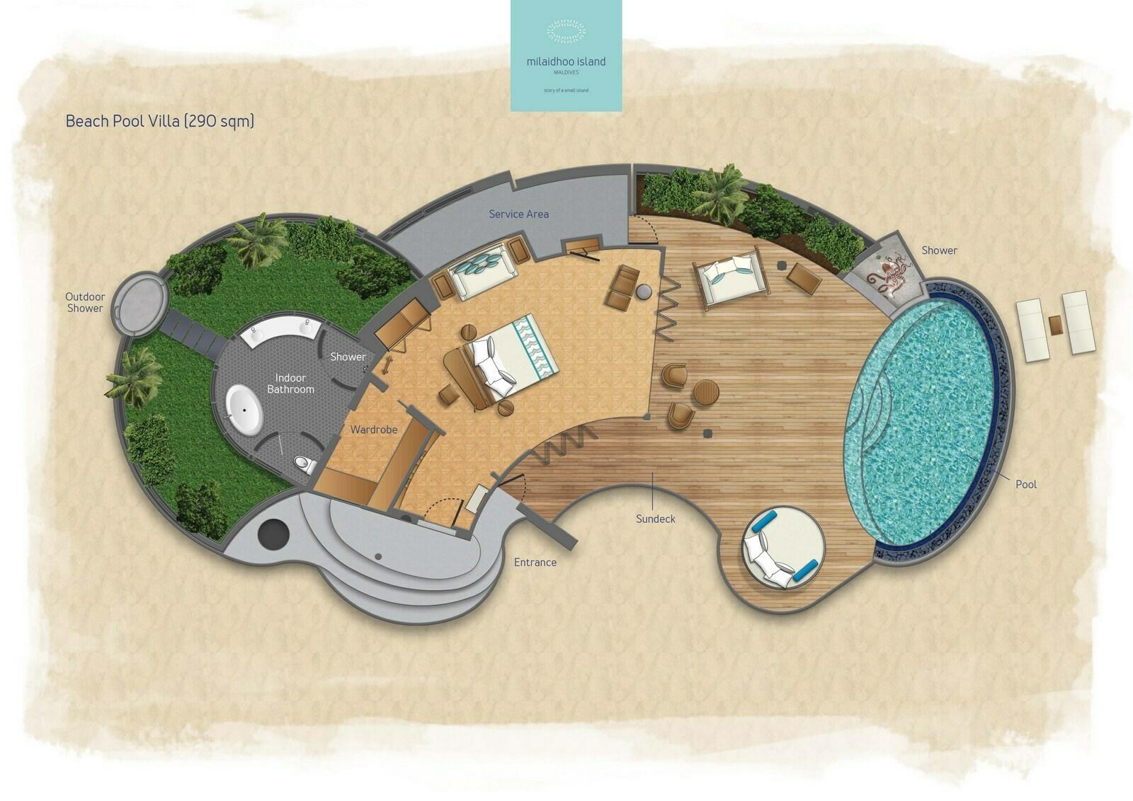 Мальдивы, отель Milaidhoo Island Maldives, план-схема номера Beach Pool Villa