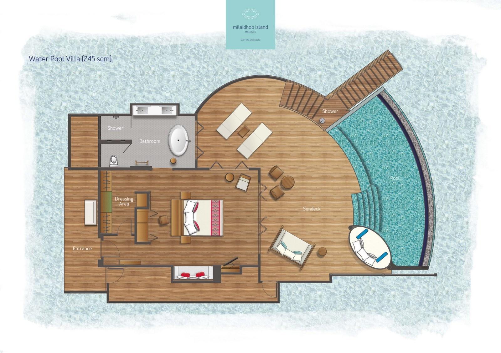Мальдивы, отель Milaidhoo Island Maldives, план-схема номера Water Pool Villa
