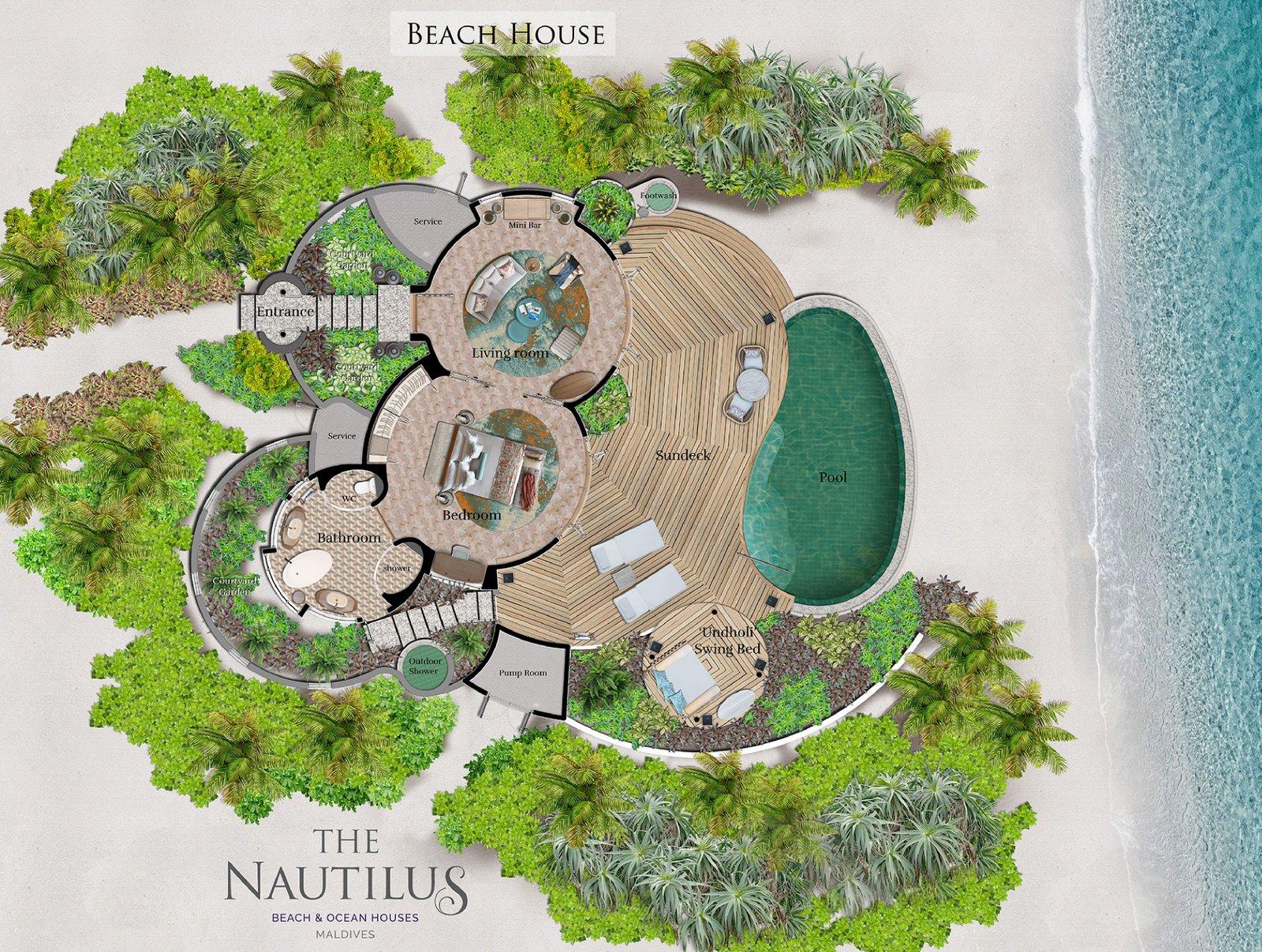 Мальдивы, отель The Nautilus Maldives, план-схема номера Beach House