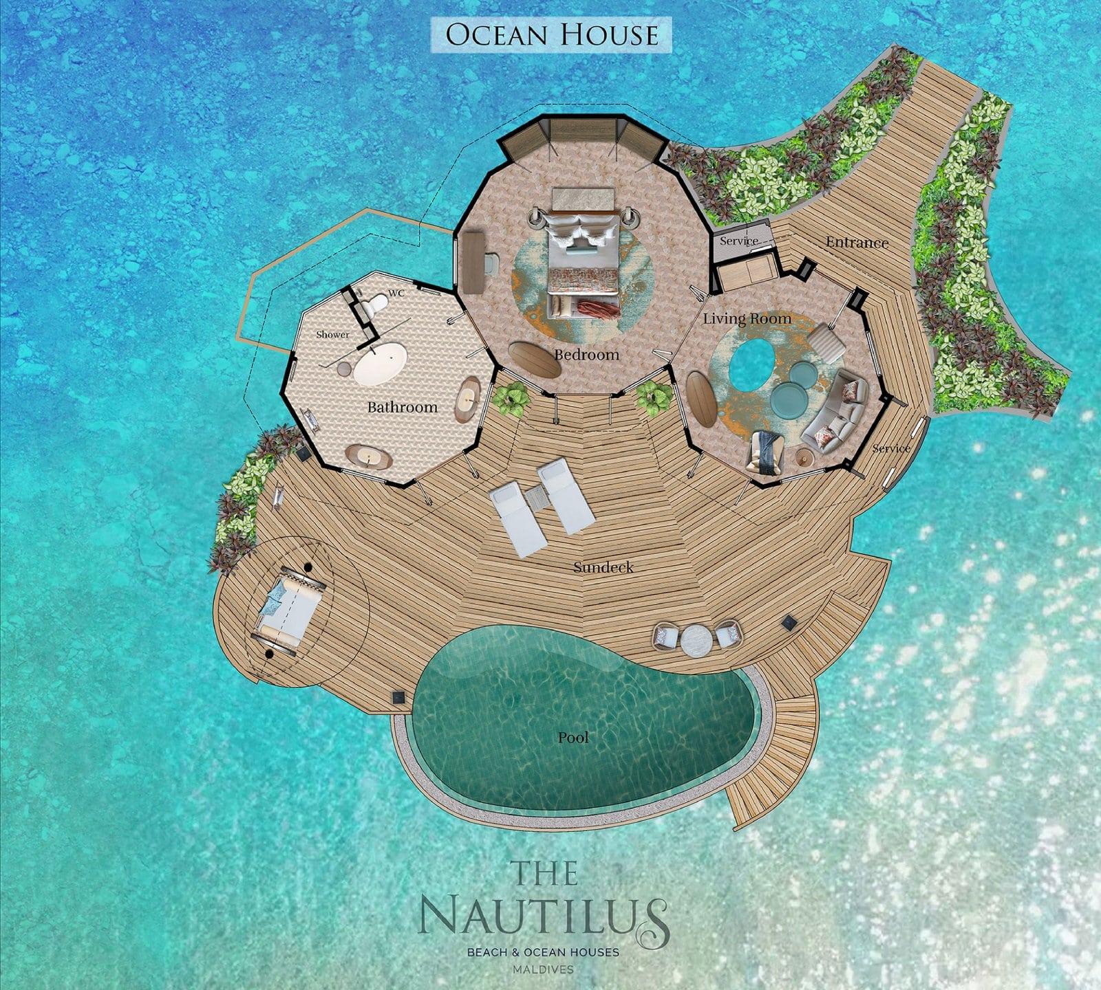 Мальдивы, отель The Nautilus Maldives, план-схема номера Ocean House