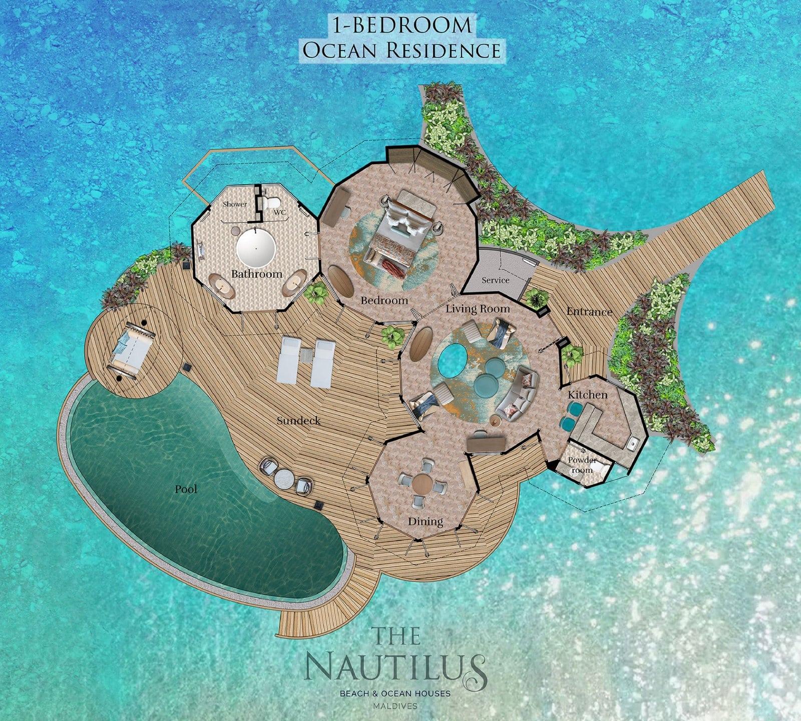 Мальдивы, отель The Nautilus Maldives, план-схема номера One-Bedroom Ocean Residence