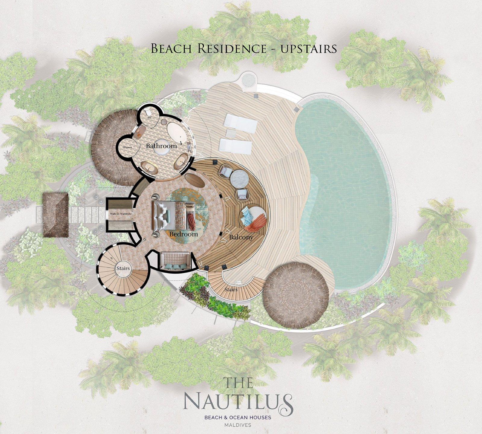 Мальдивы, отель The Nautilus Maldives, план-схема номера One-Bedroom Beach Residence