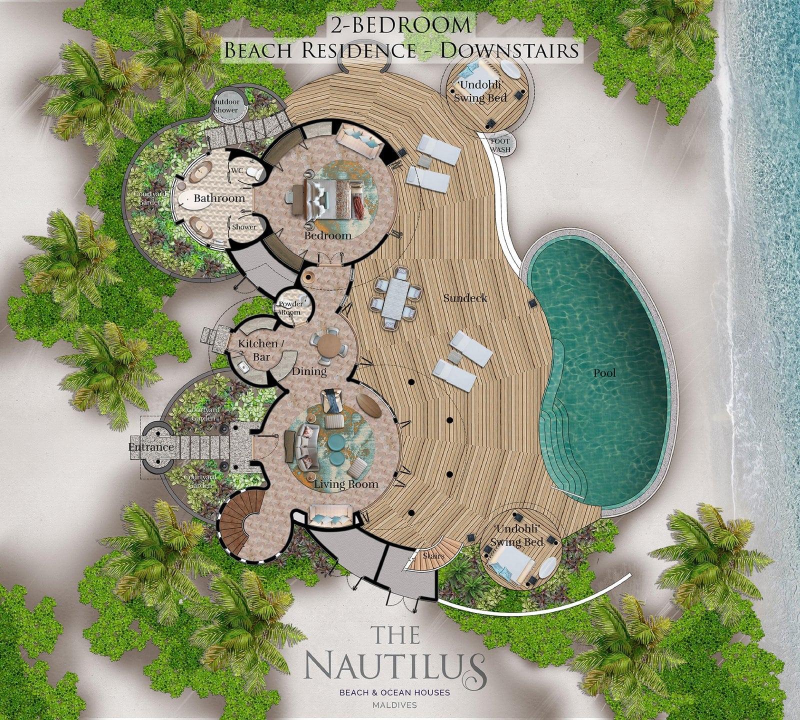 Мальдивы, отель The Nautilus Maldives, план-схема номера Two-Bedroom Beach Residence